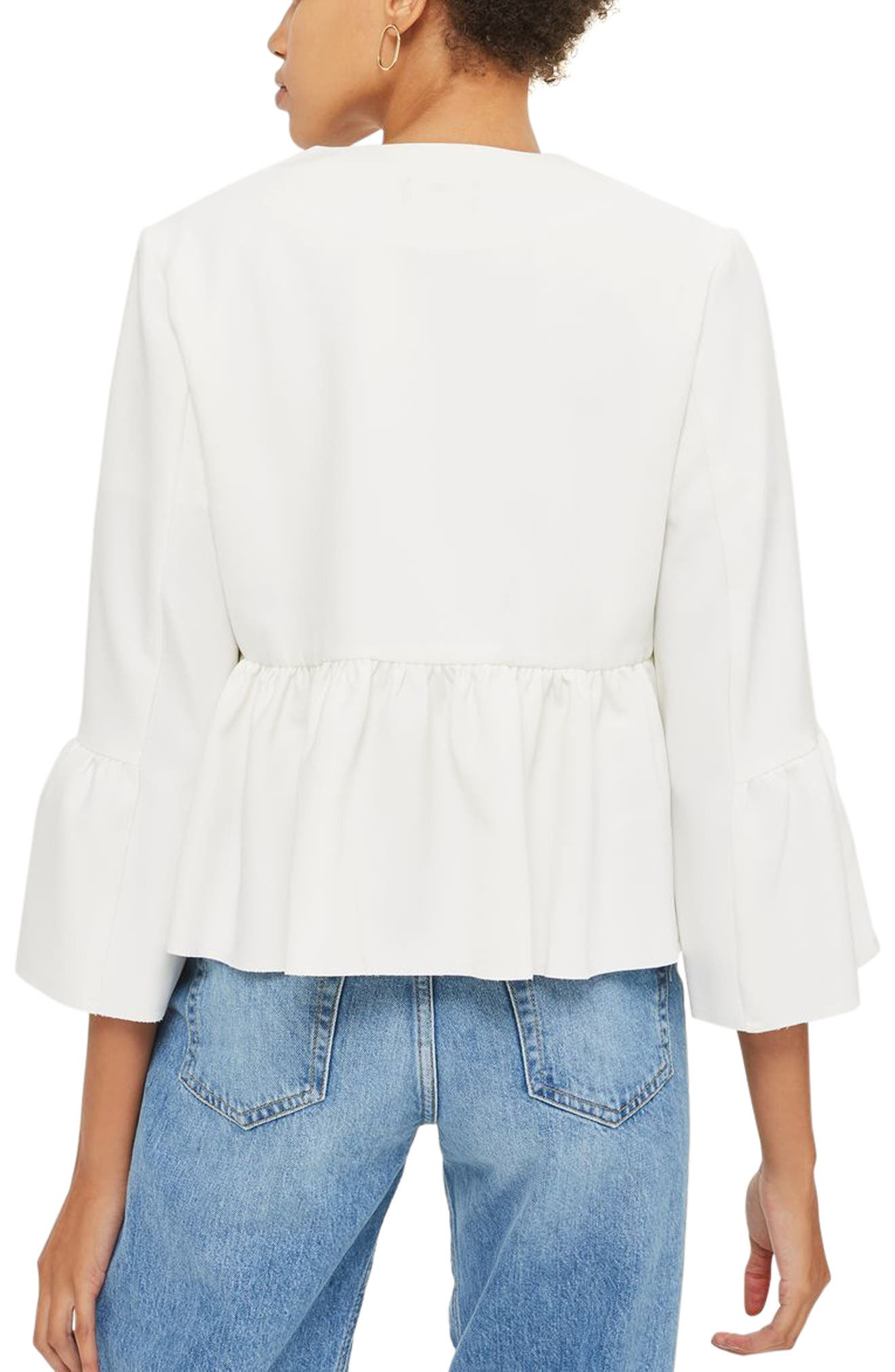 Ruffle Crop Jacket,                             Alternate thumbnail 2, color,                             Ivory