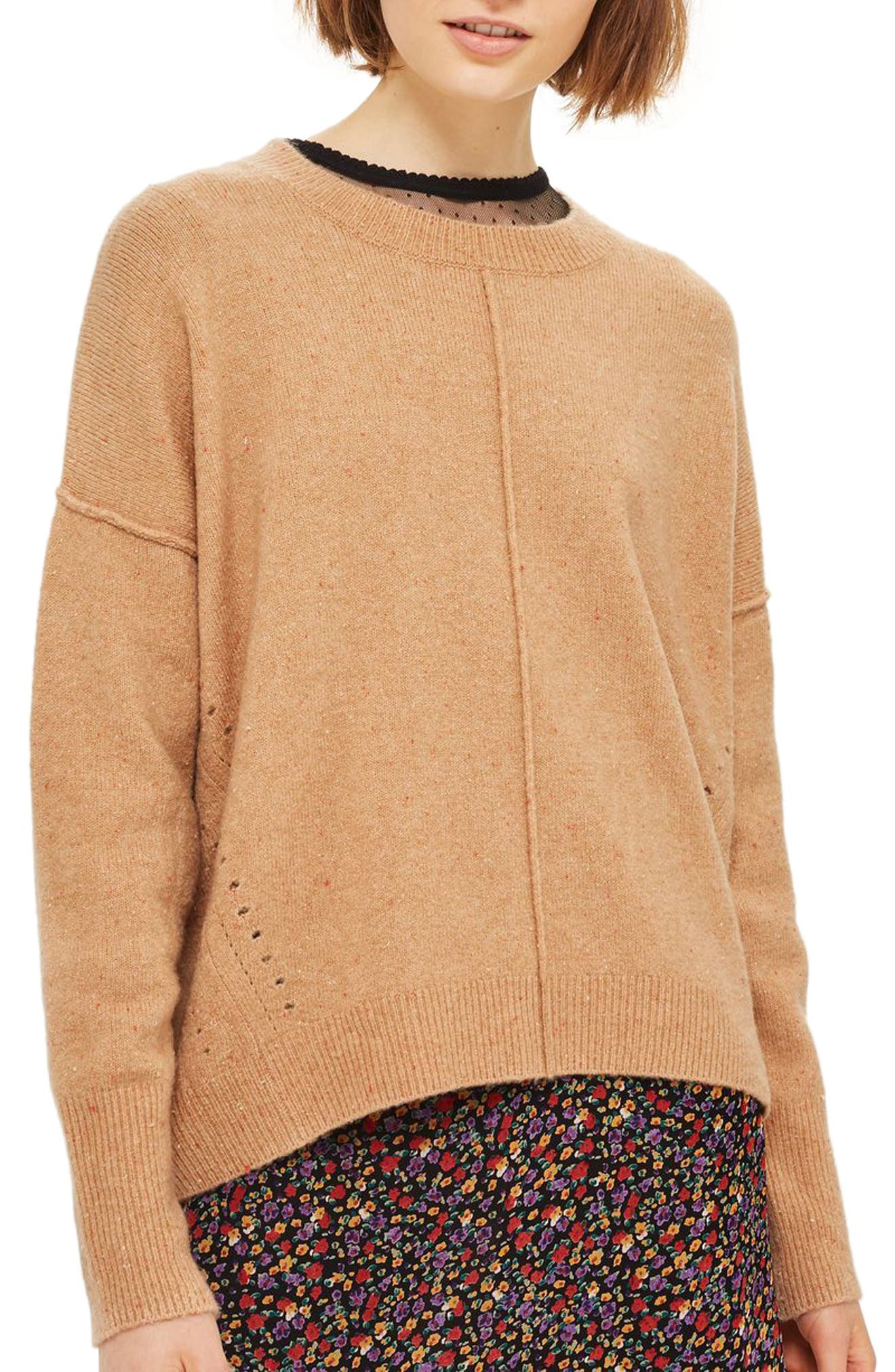 Topshop Pointelle Detail Sweater (Regular & Petite)