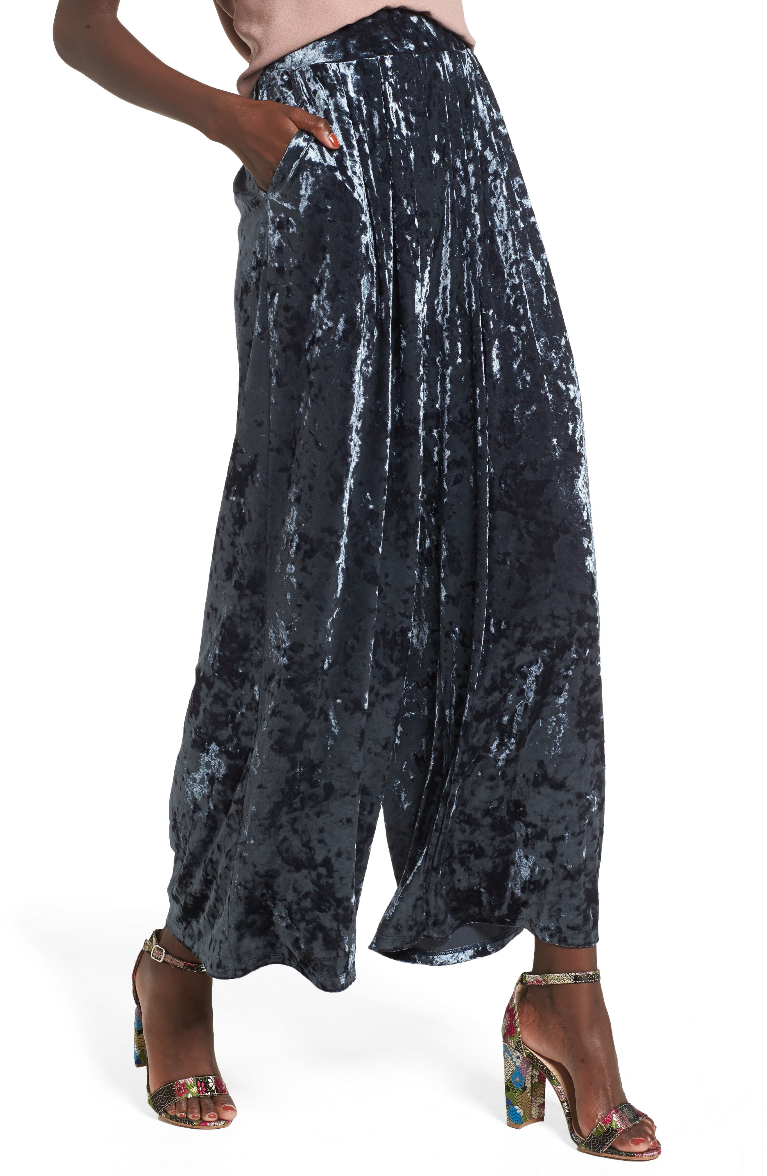 Crop Wide Leg Velour Pants,                             Alternate thumbnail 4, color,                             Navy India Ink