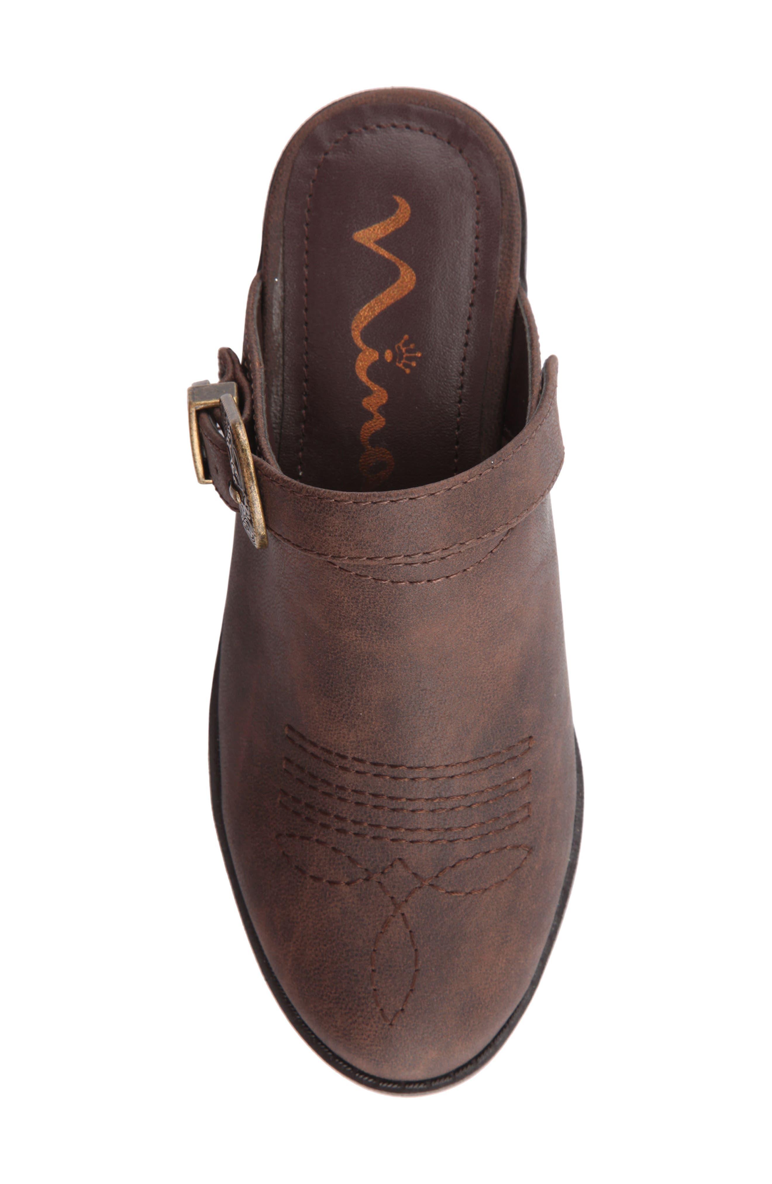 Deb Swivel Strap Clog,                             Alternate thumbnail 4, color,                             Brown Faux Leather