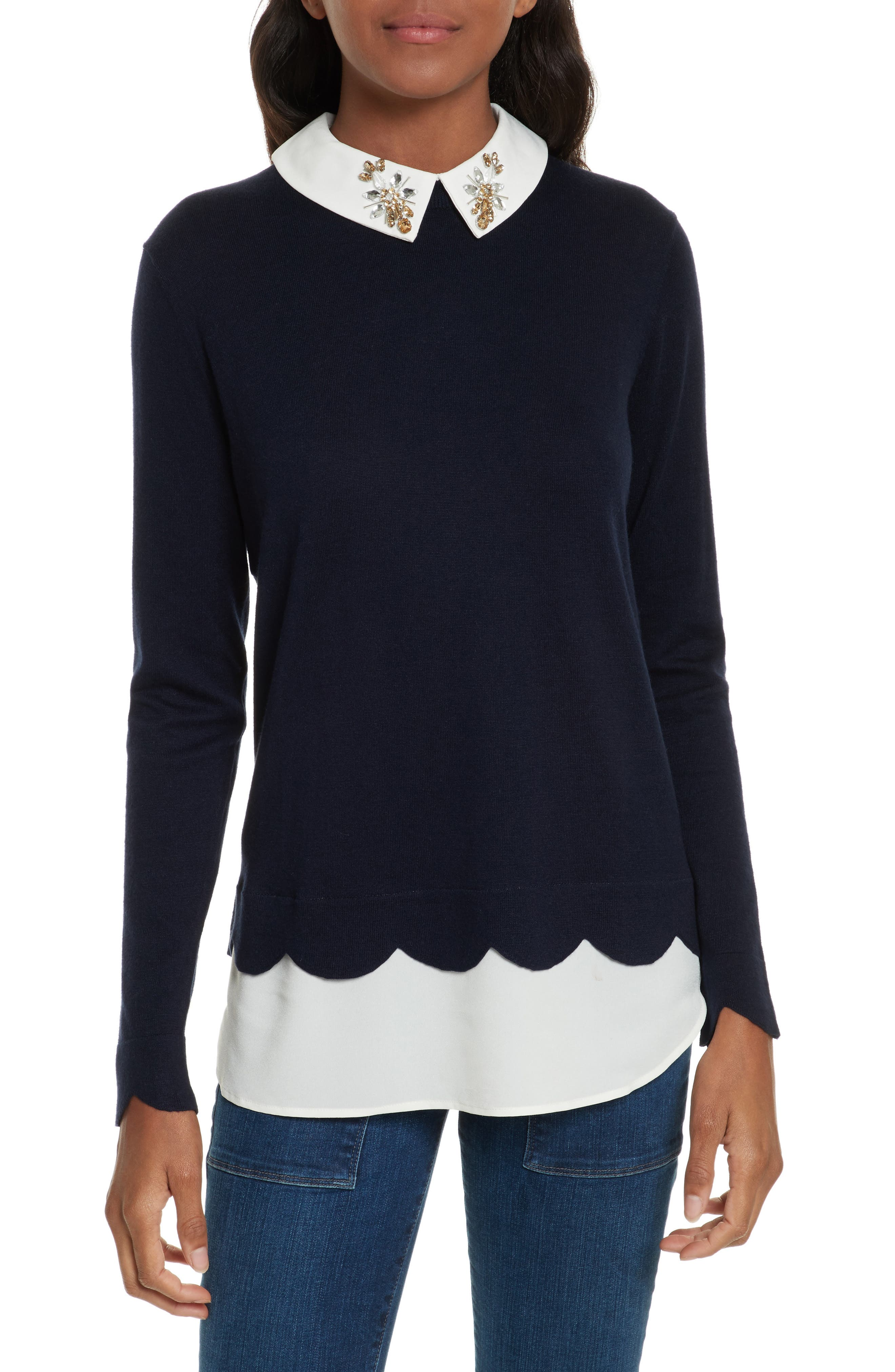 Ted Baker London Suzaine Embellished Layered Look Sweater
