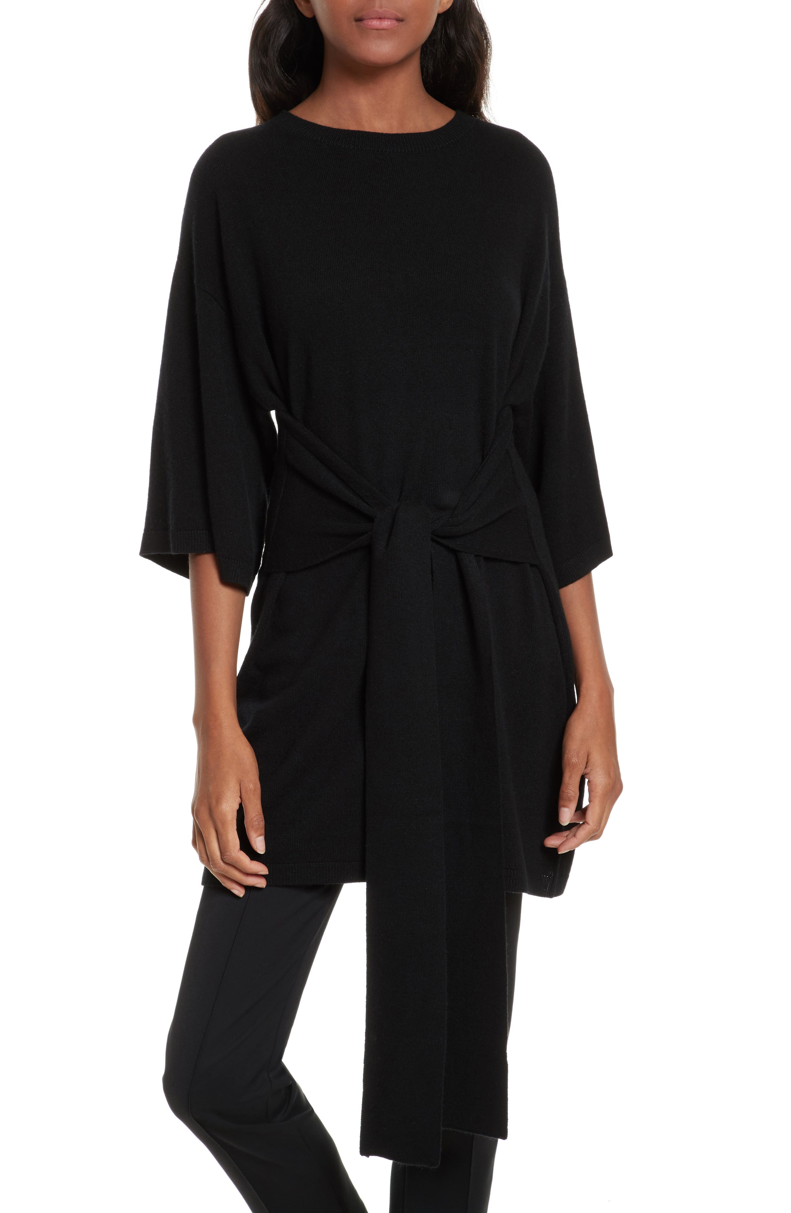 Olympy Tie Front Knit Tunic,                             Main thumbnail 1, color,                             Black