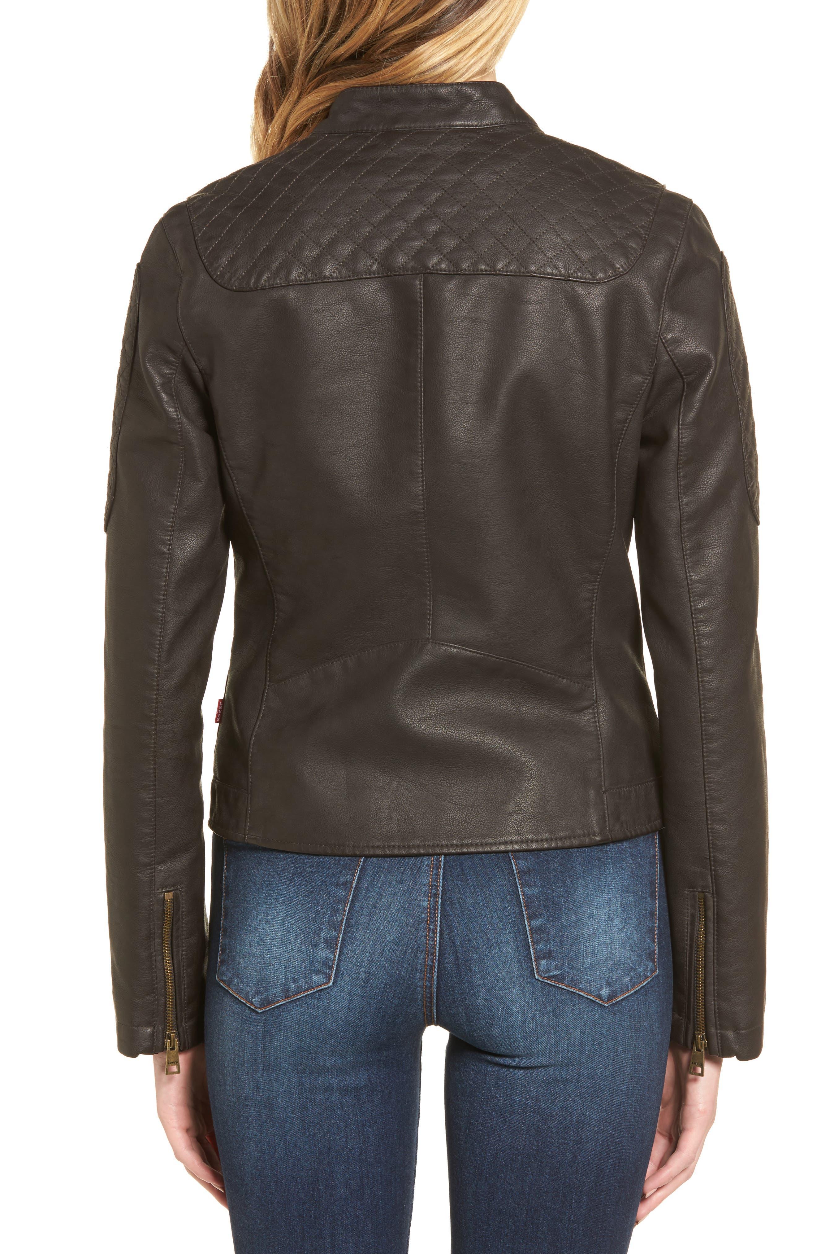 LEVIS<sup>®</sup> Faux Leather Moto Jacket,                             Alternate thumbnail 2, color,                             Brown