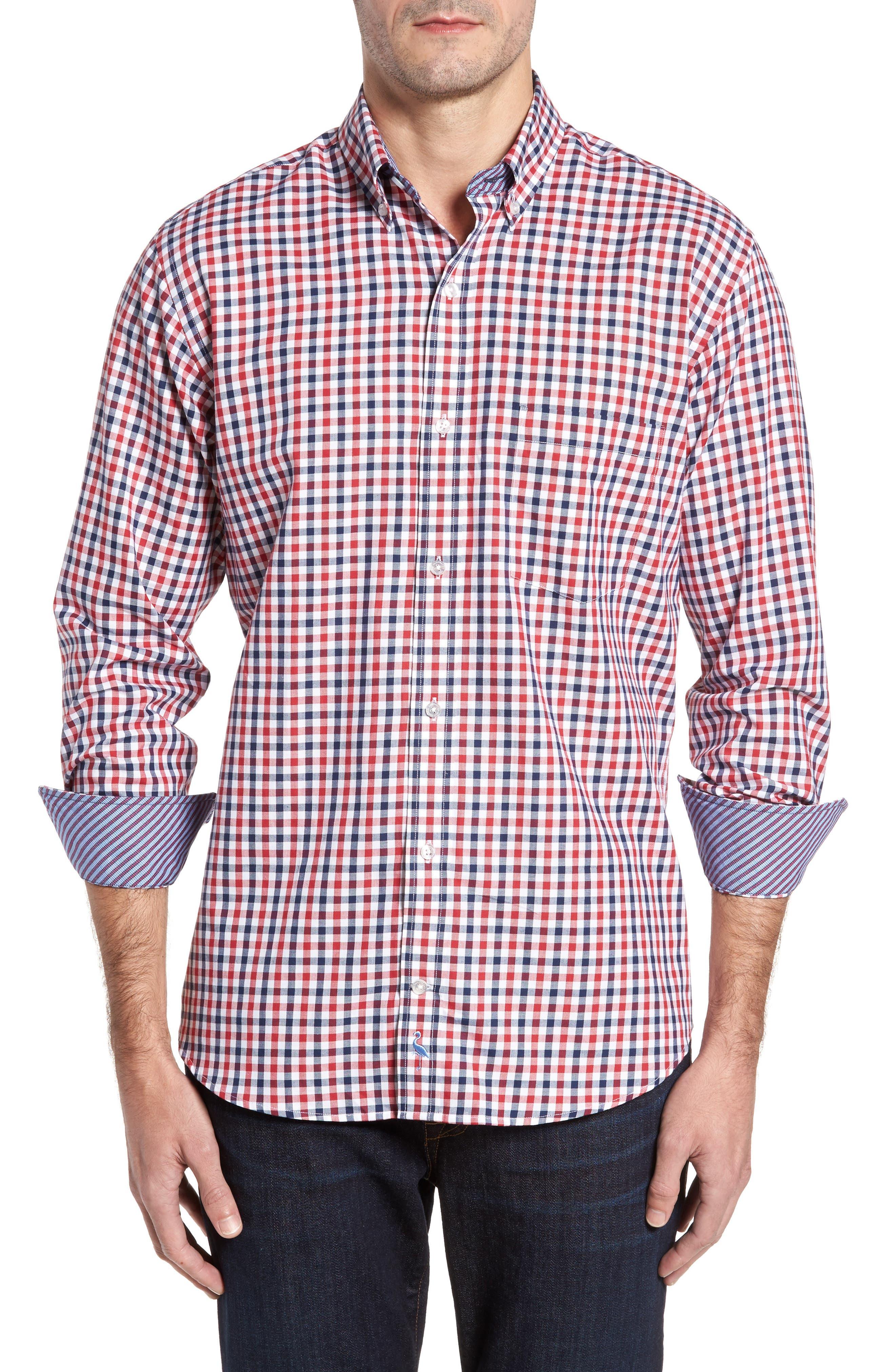Bernice Check Sport Shirt,                         Main,                         color, Red