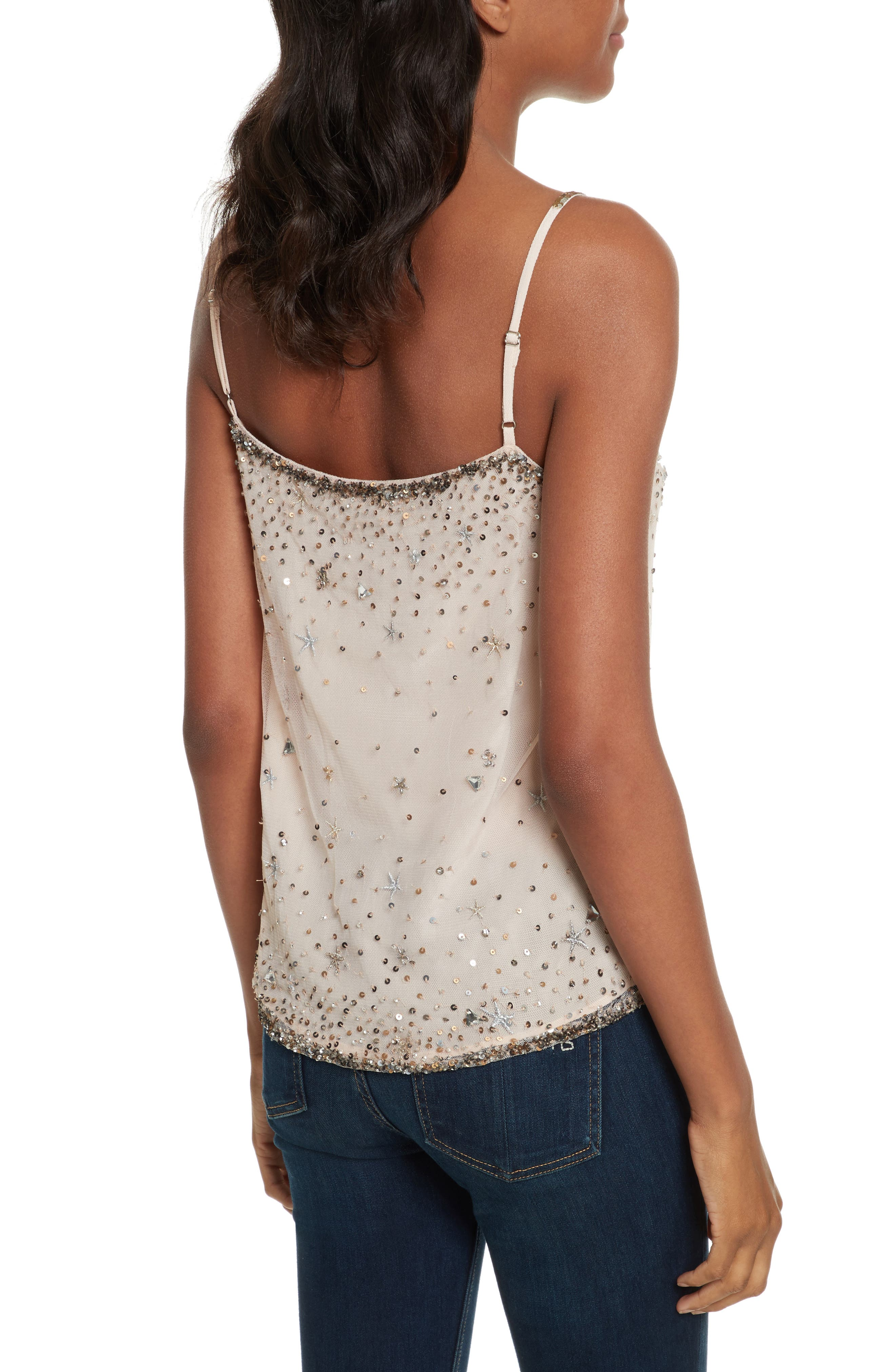 Garlen Beaded Camisole,                             Alternate thumbnail 2, color,                             Champagne