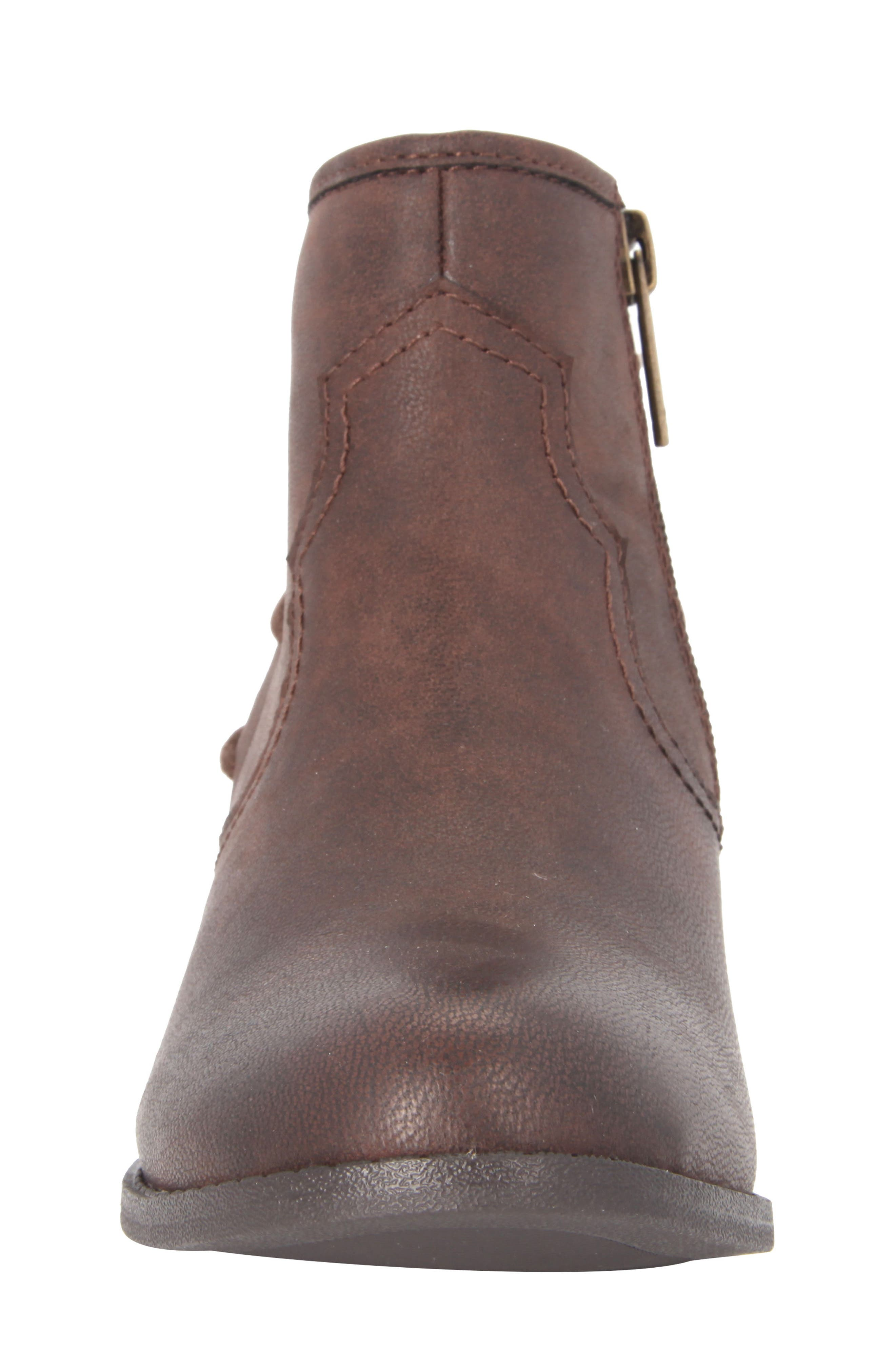 Evette Distressed Back-Lace Bootie,                             Alternate thumbnail 4, color,                             Brown Faux Leather