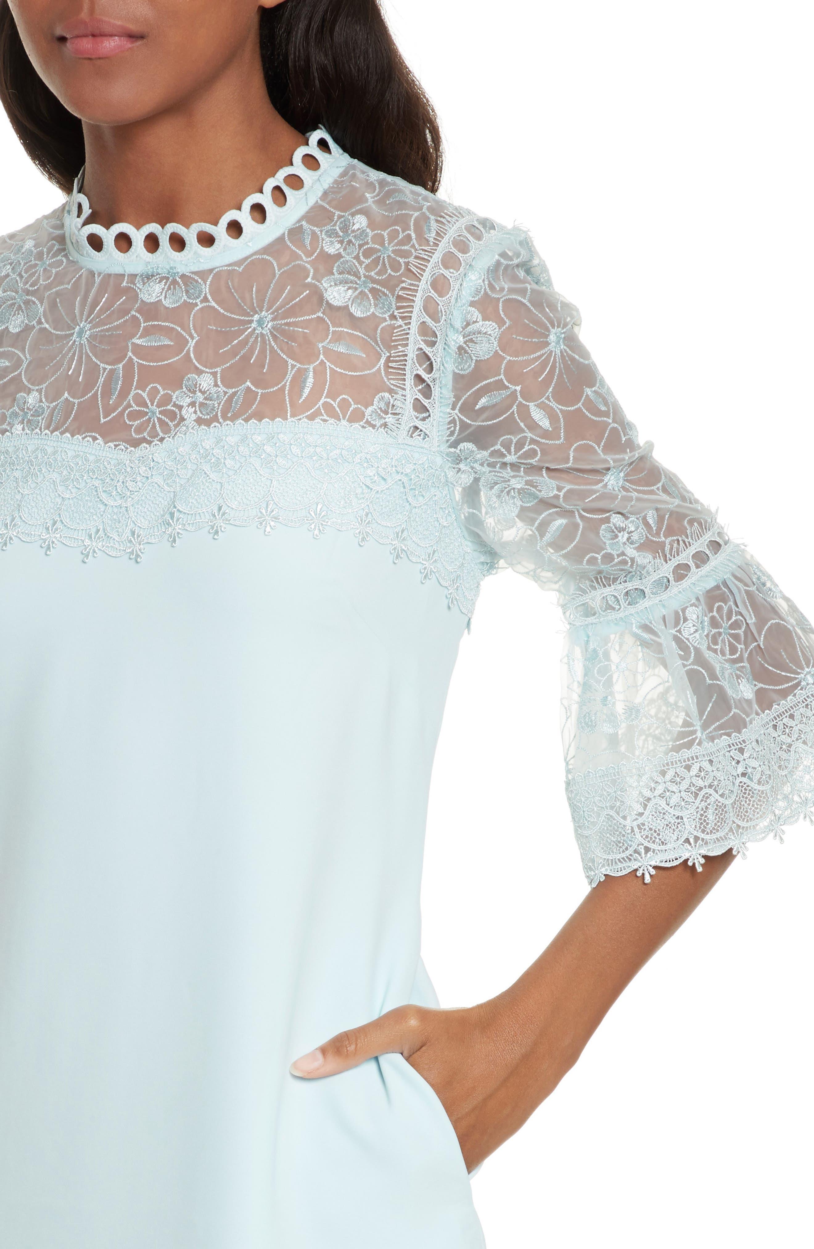 Raechal Lace Sleeve A-Line Dress,                             Alternate thumbnail 4, color,                             Pale Blue