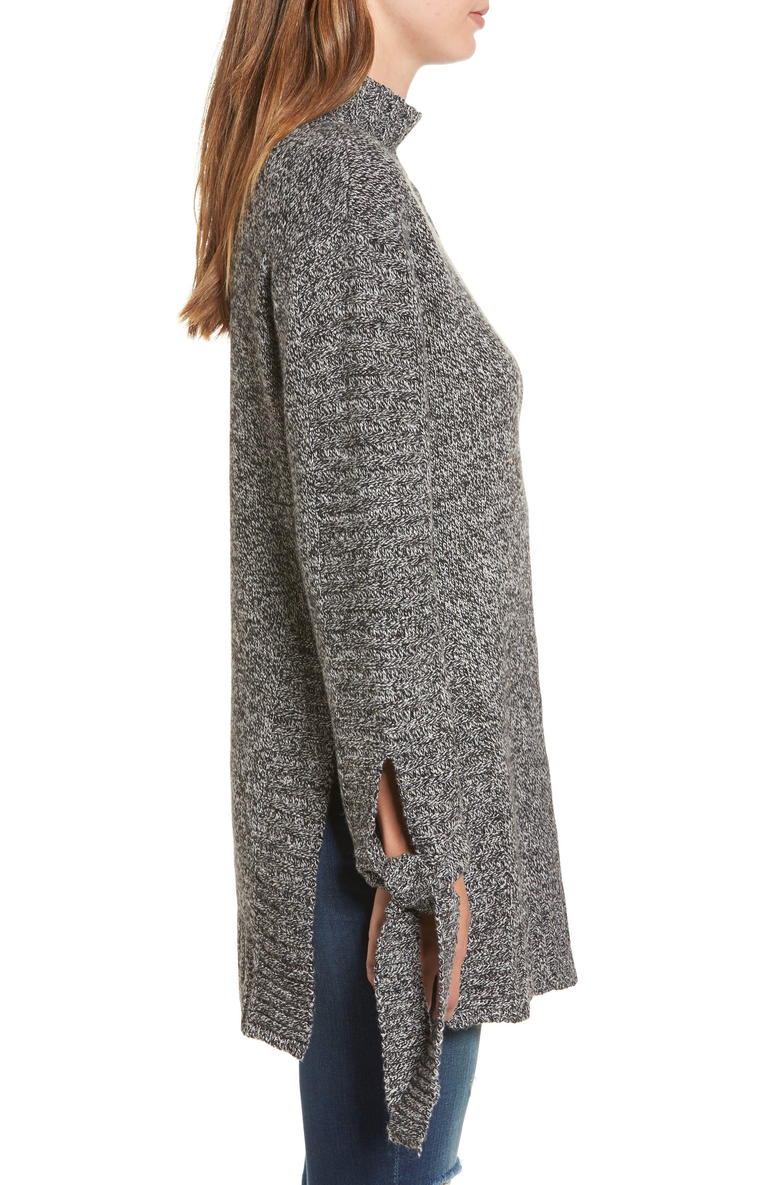 Side Slit Sweater,                             Alternate thumbnail 3, color,                             Charcoal