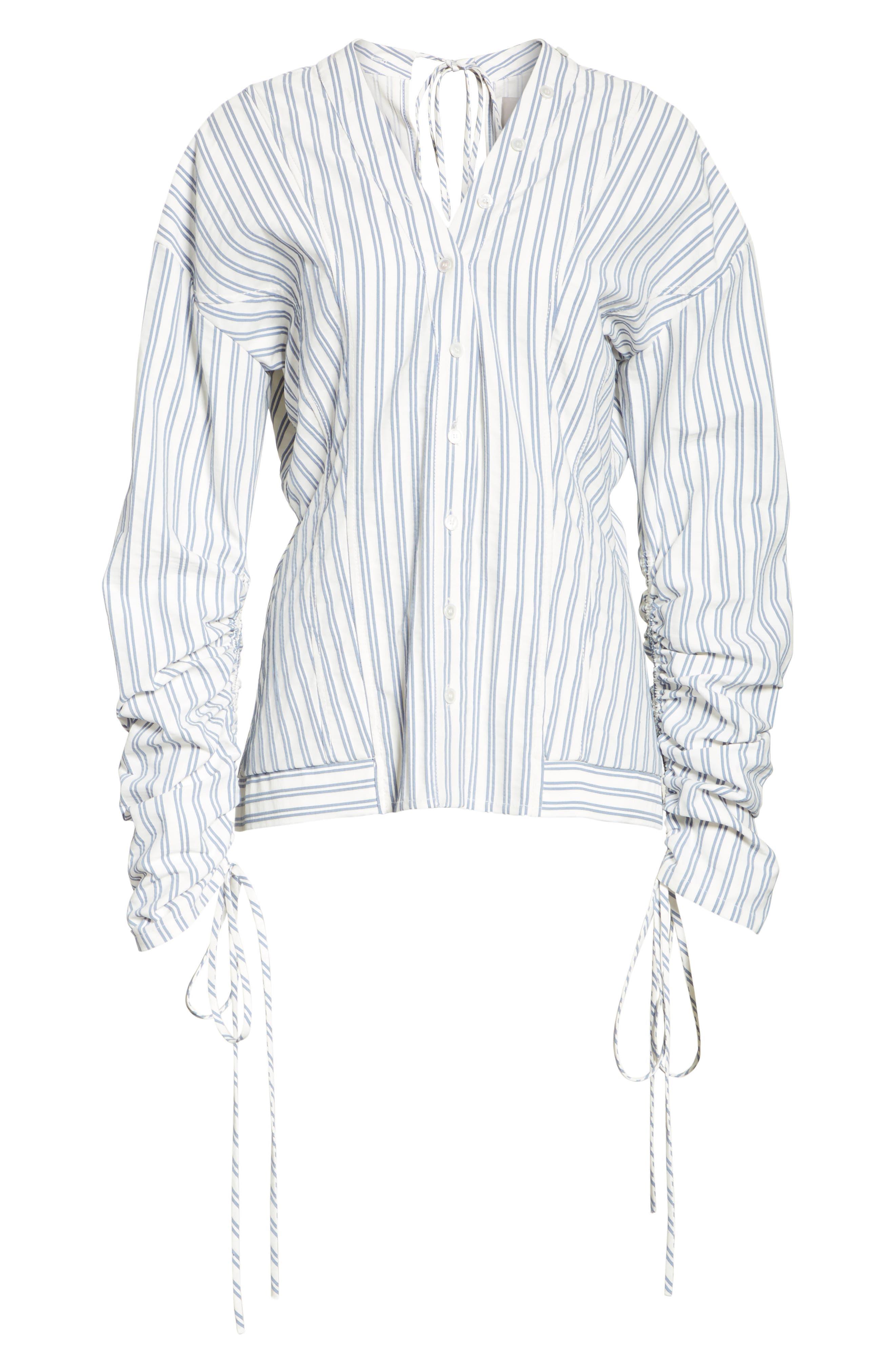 Stripe Cotton Blouse,                             Alternate thumbnail 6, color,                             Blue / Chalk