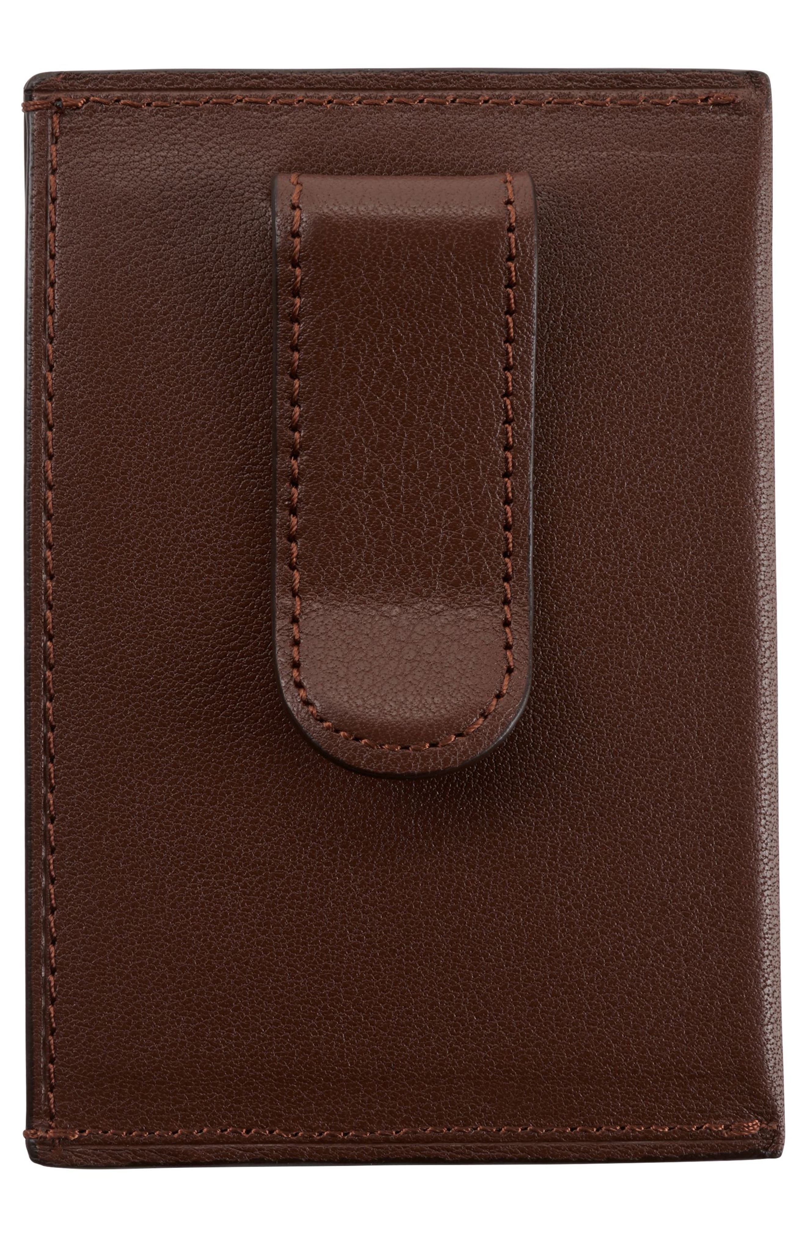 Leather Money Clip Card Case,                             Alternate thumbnail 2, color,                             Brown Textured