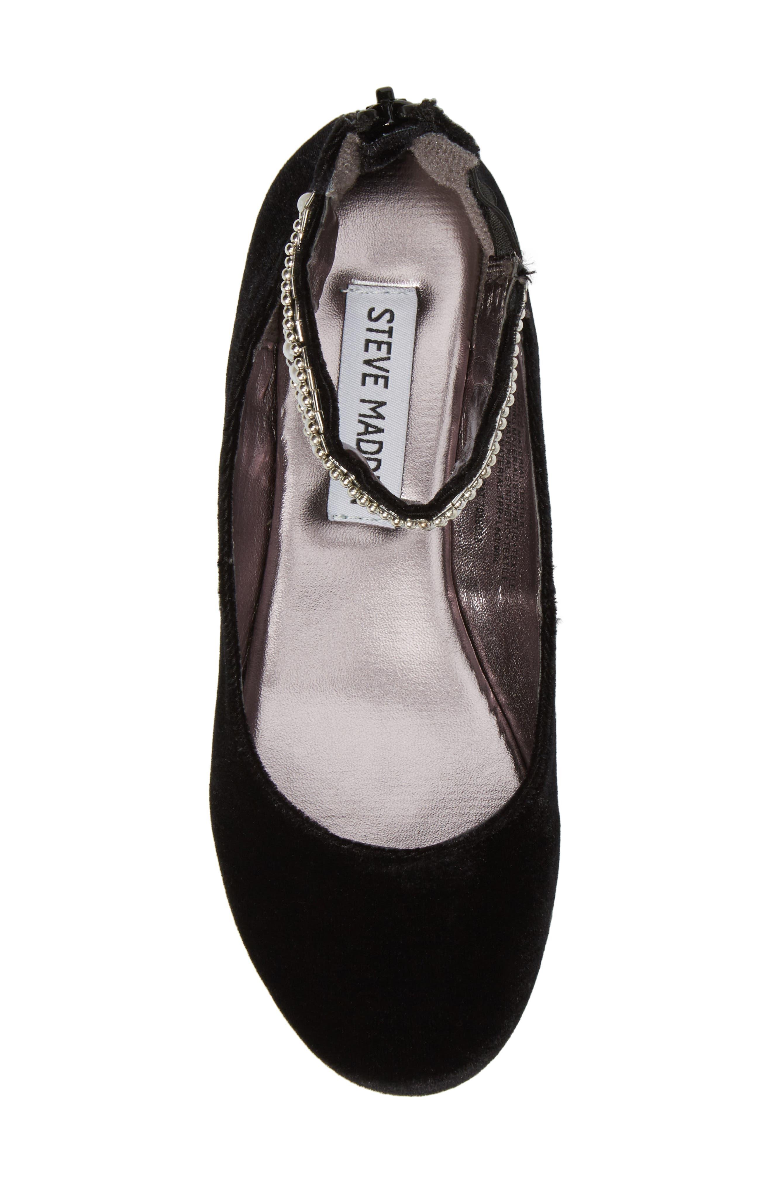 Zilerp Embellished Ankle Strap Flat,                             Alternate thumbnail 5, color,                             Black Velvet