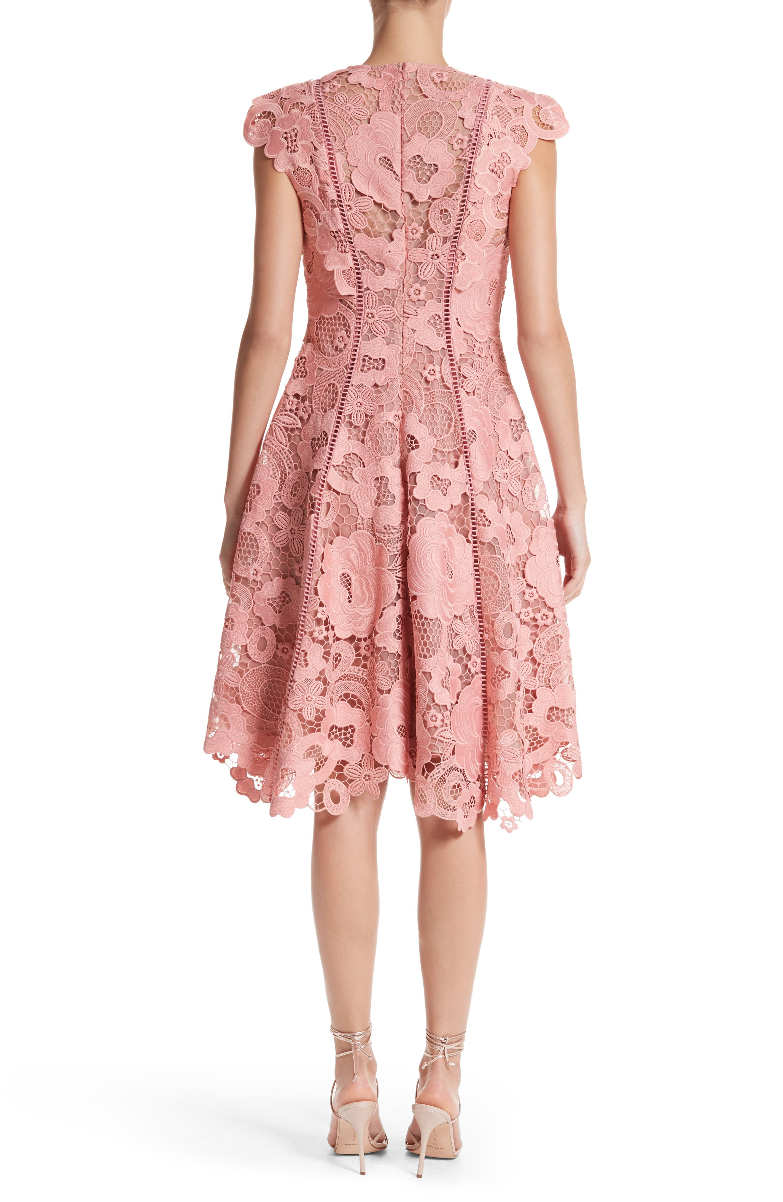 Seamed Lace Fit & Flare Dress,                             Alternate thumbnail 2, color,                             Peony