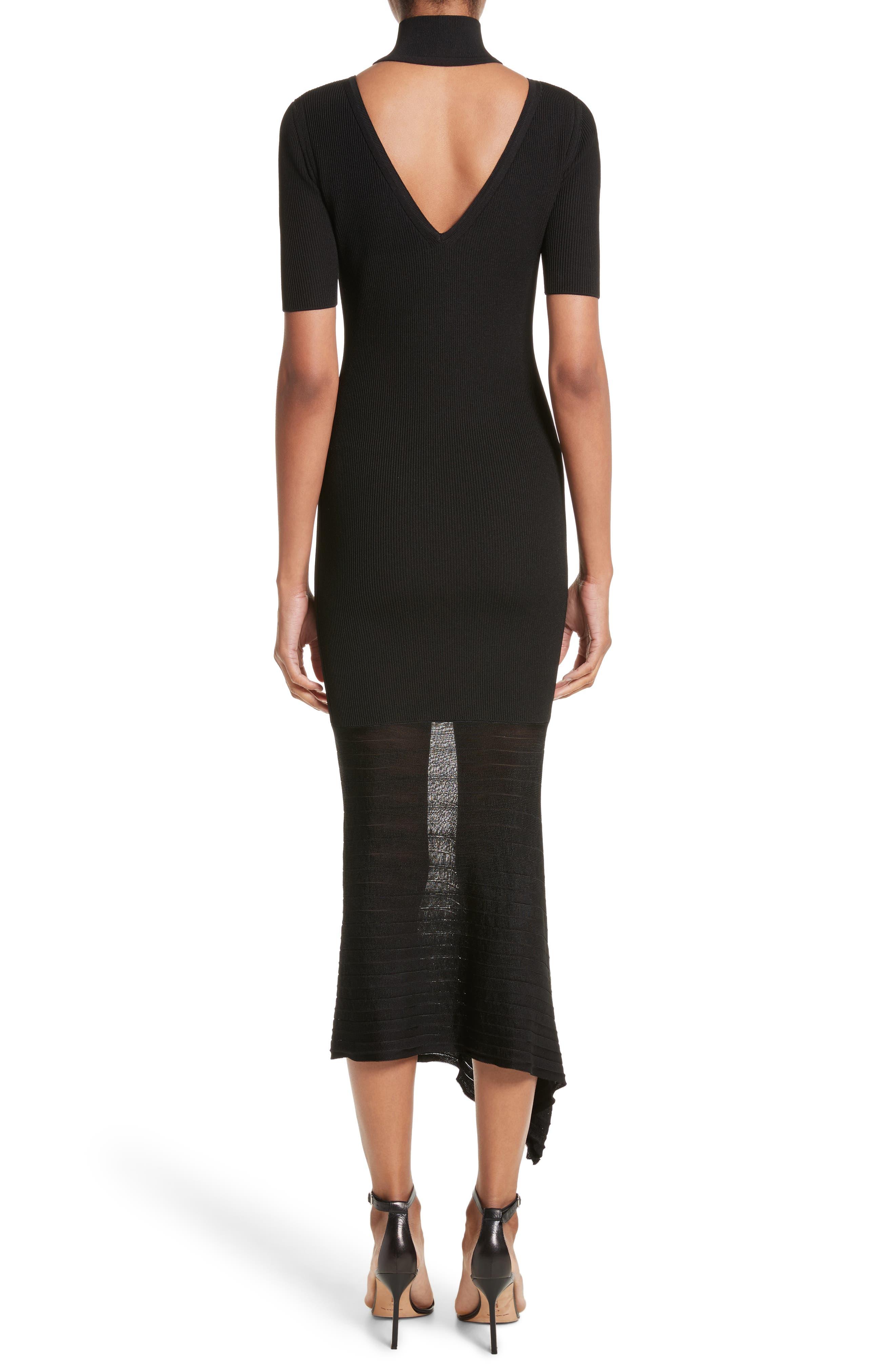 Asymmetrical Knit Dress,                             Alternate thumbnail 2, color,                             Black