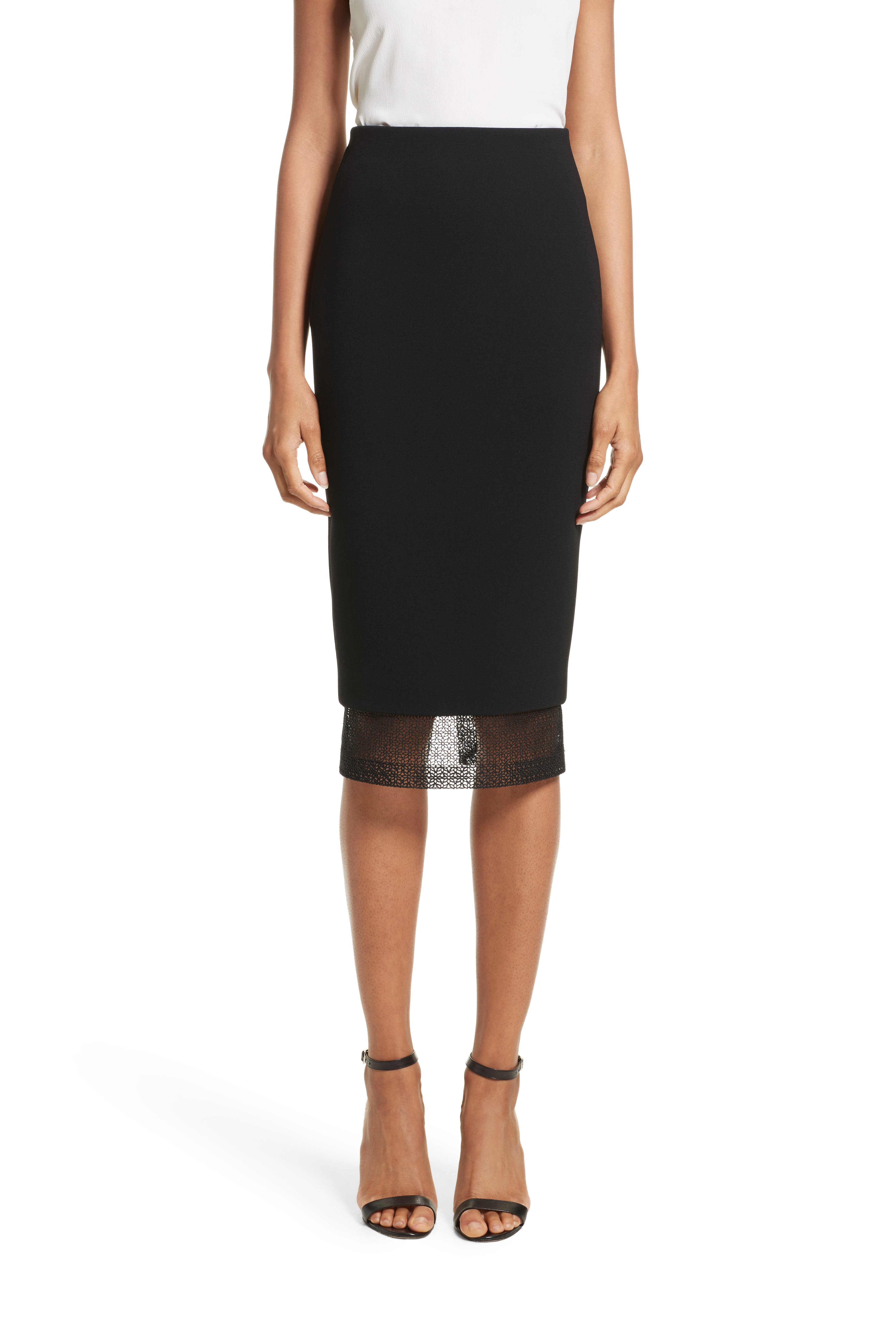 Lace Detail Pencil Skirt,                         Main,                         color, Black
