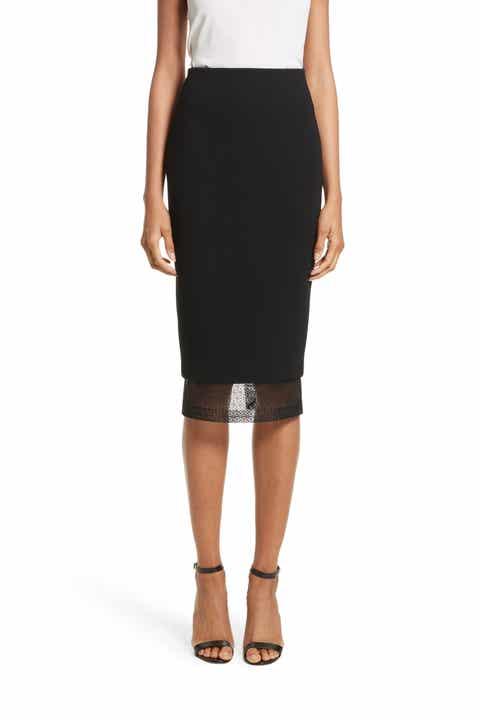 Victoria Beckham Lace Detail Pencil Skirt