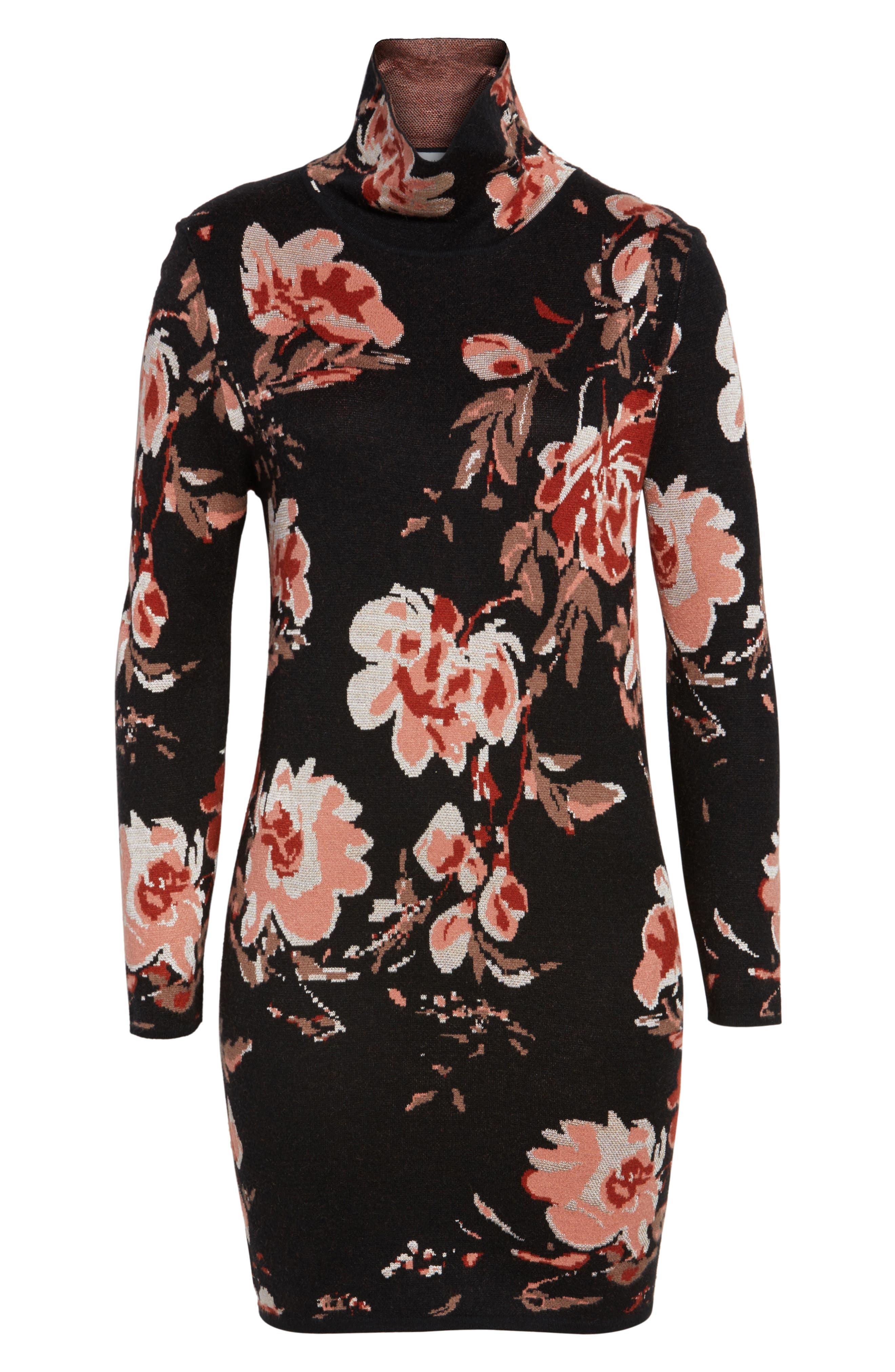 Feeling Myself Mock Neck Sheath Dress,                             Alternate thumbnail 7, color,                             Blushing Rust Roses