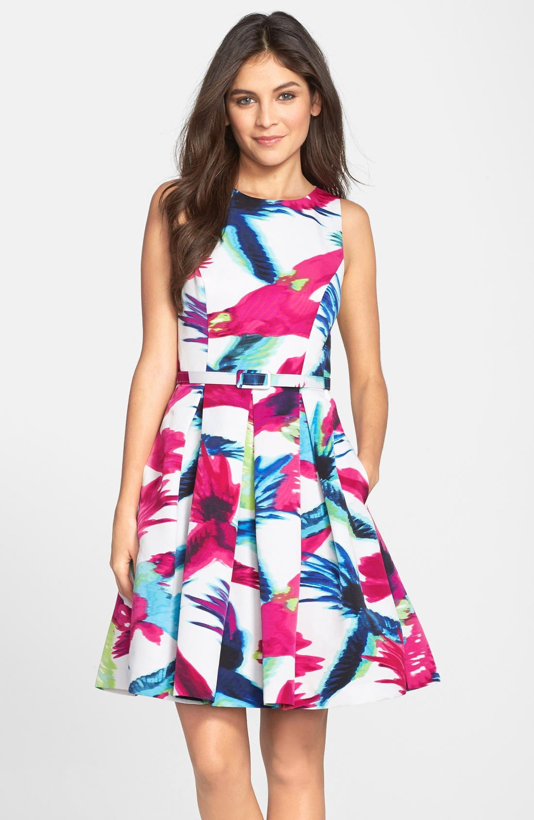 Belted Floral Print Fit & Flare Dress,                             Main thumbnail 1, color,                             Print