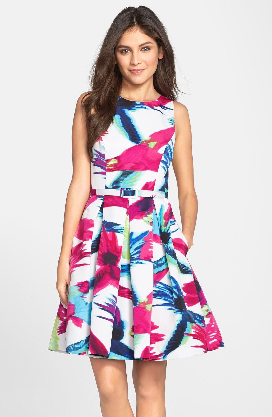Belted Floral Print Fit & Flare Dress,                         Main,                         color, Print
