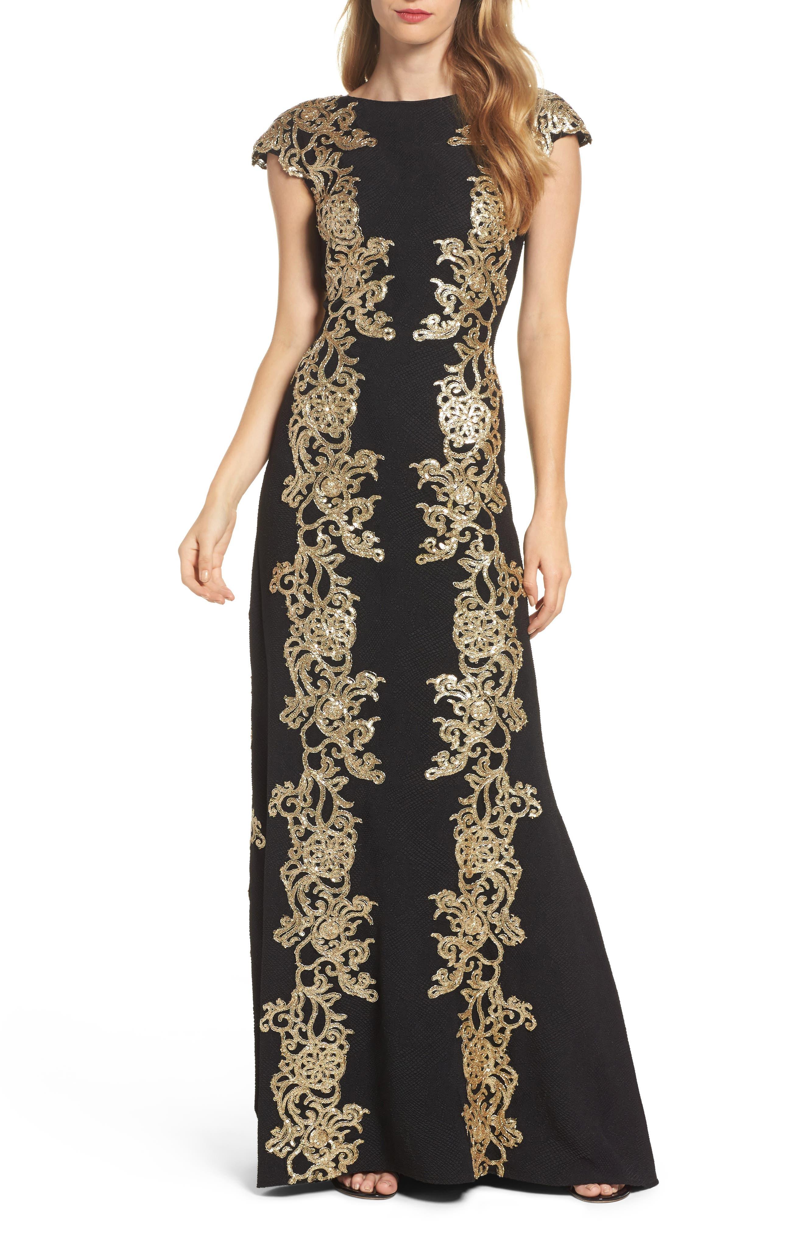 Tadashi Shoji Sequin Appliqué Textured Crepe Gown