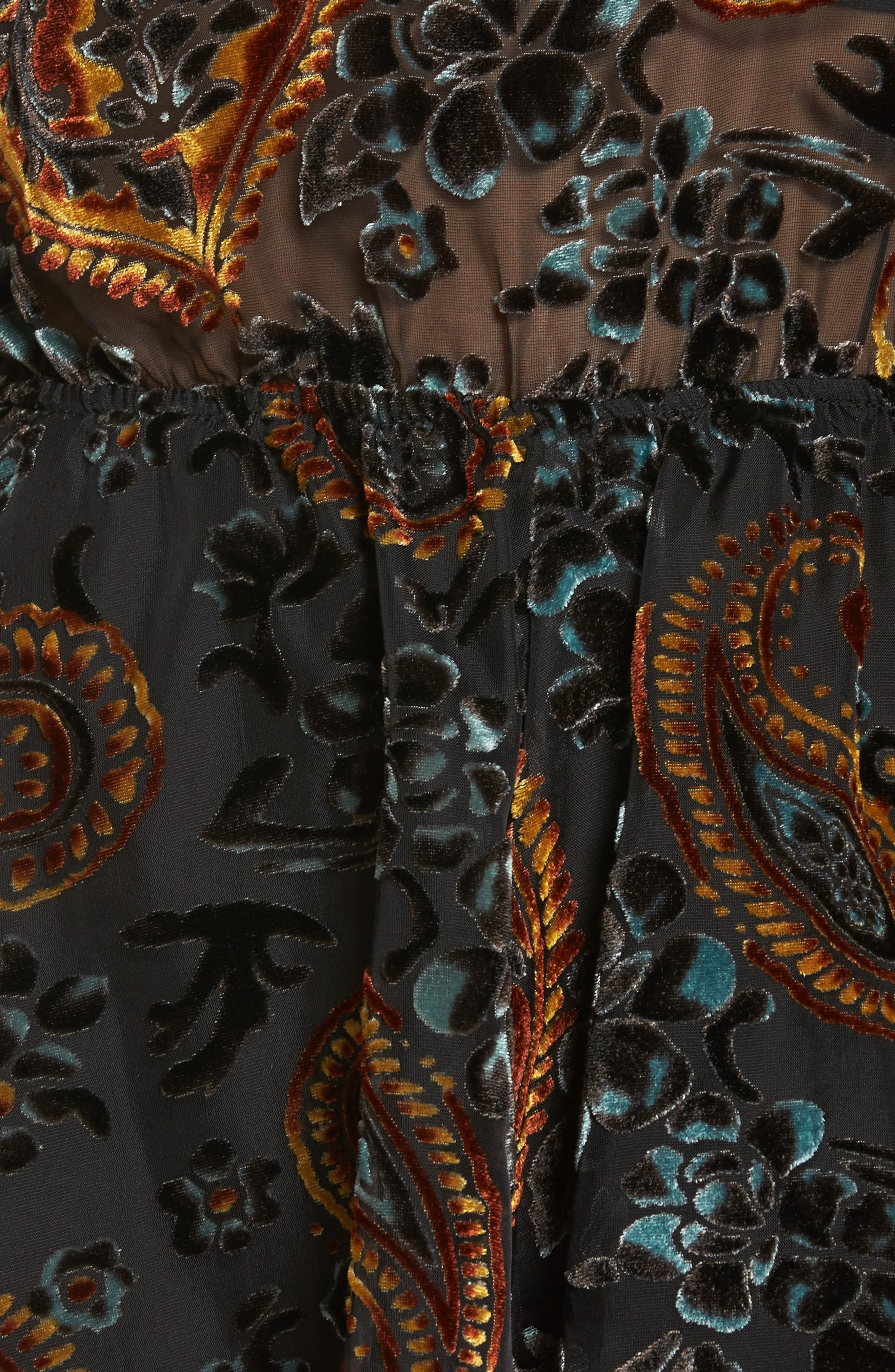 Lioners Lovers & Gamblers Backless Burnout Velvet Romper,                             Alternate thumbnail 5, color,                             Black