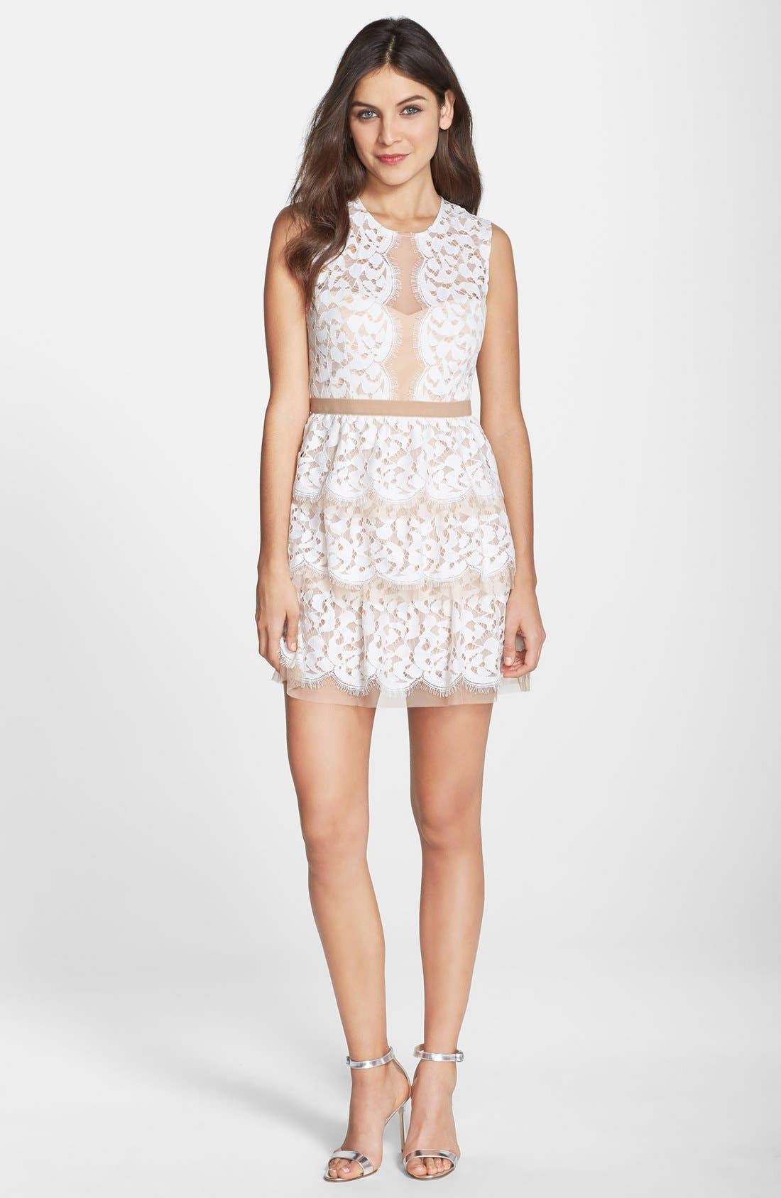 Alternate Image 2  - BCBGMAXAZRIA 'Sophea' Tiered Lace Fit & Flare Dress