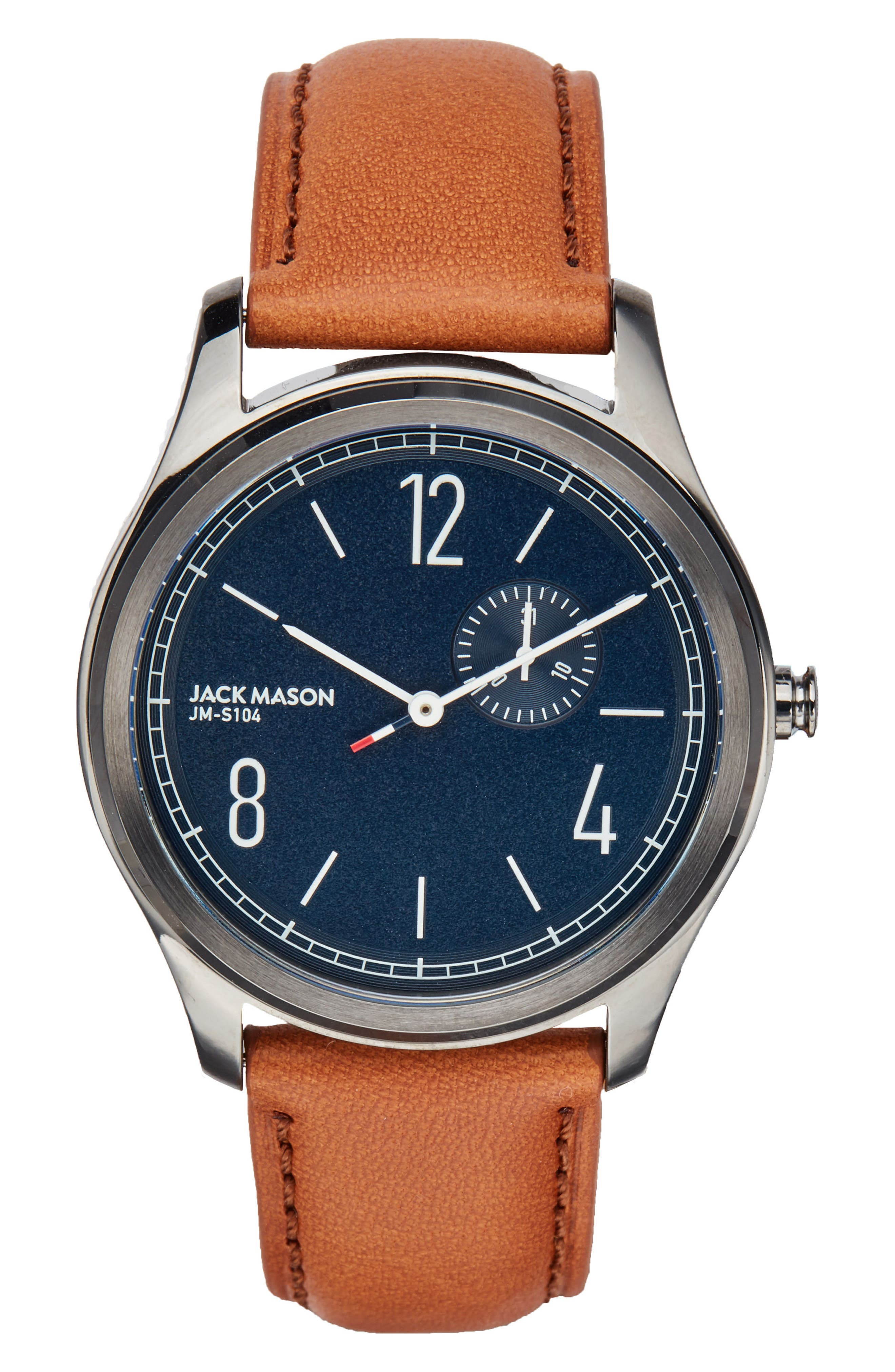 Slim Leather Strap Watch, 46mm,                         Main,                         color, Navy/ Tan