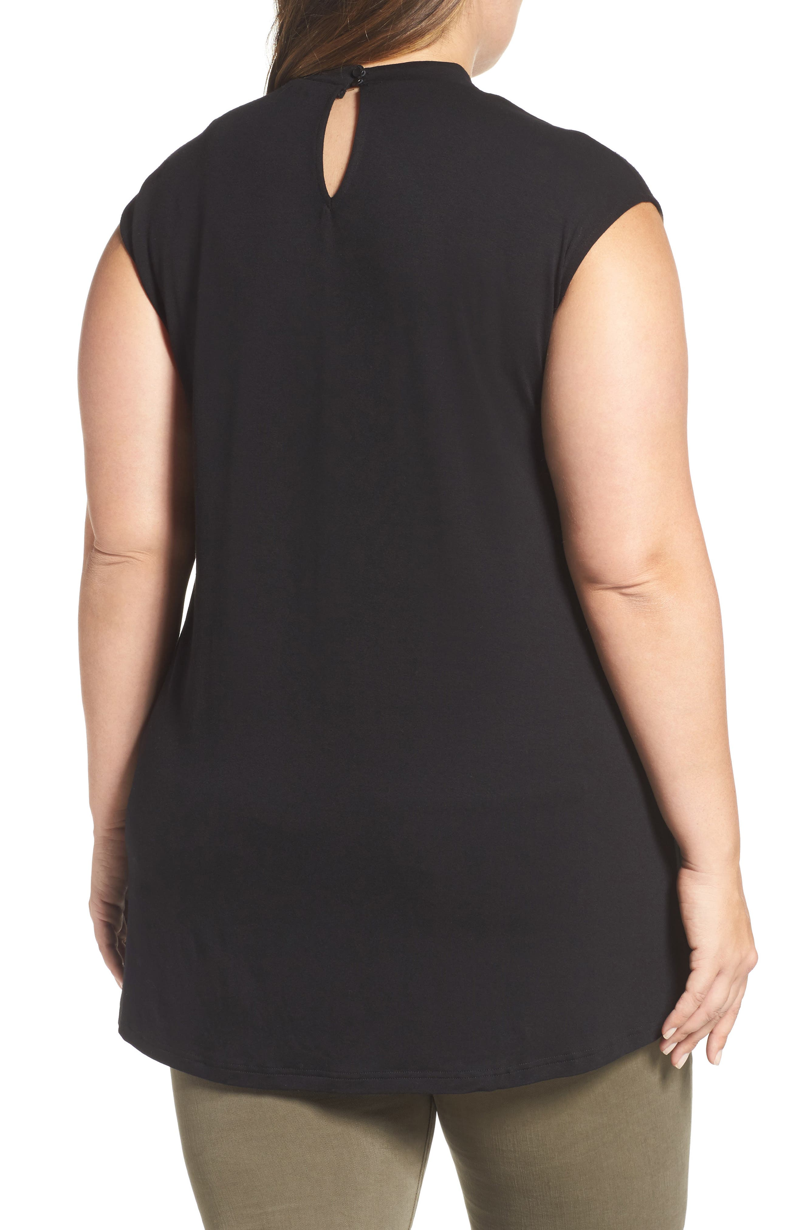 Alternate Image 2  - Vince Camuto Choker Neck High/Low Top (Plus Size)