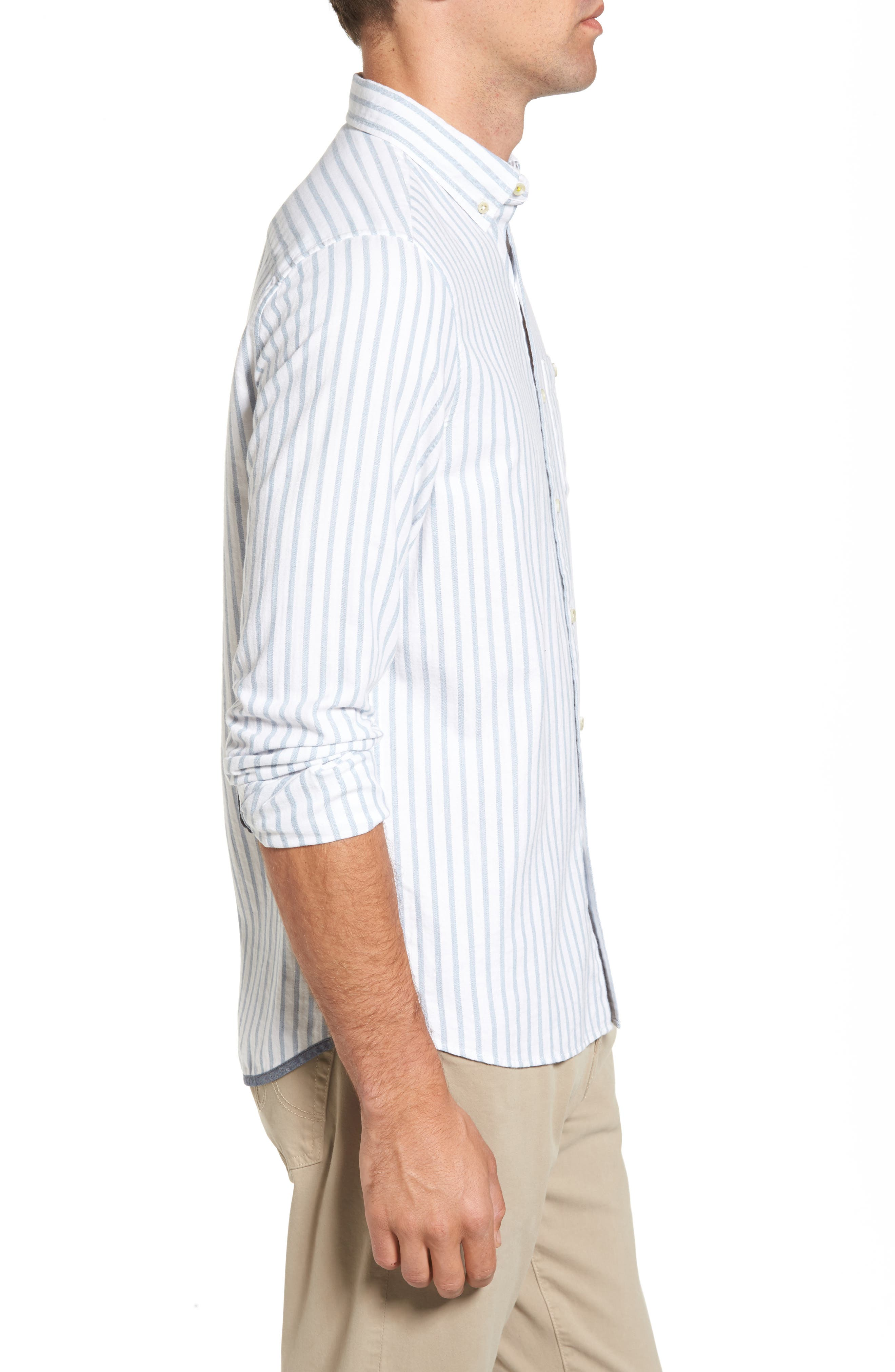 Alternate Image 3  - Michael Bastian Trim Fit Vertical Stripe Sport Shirt