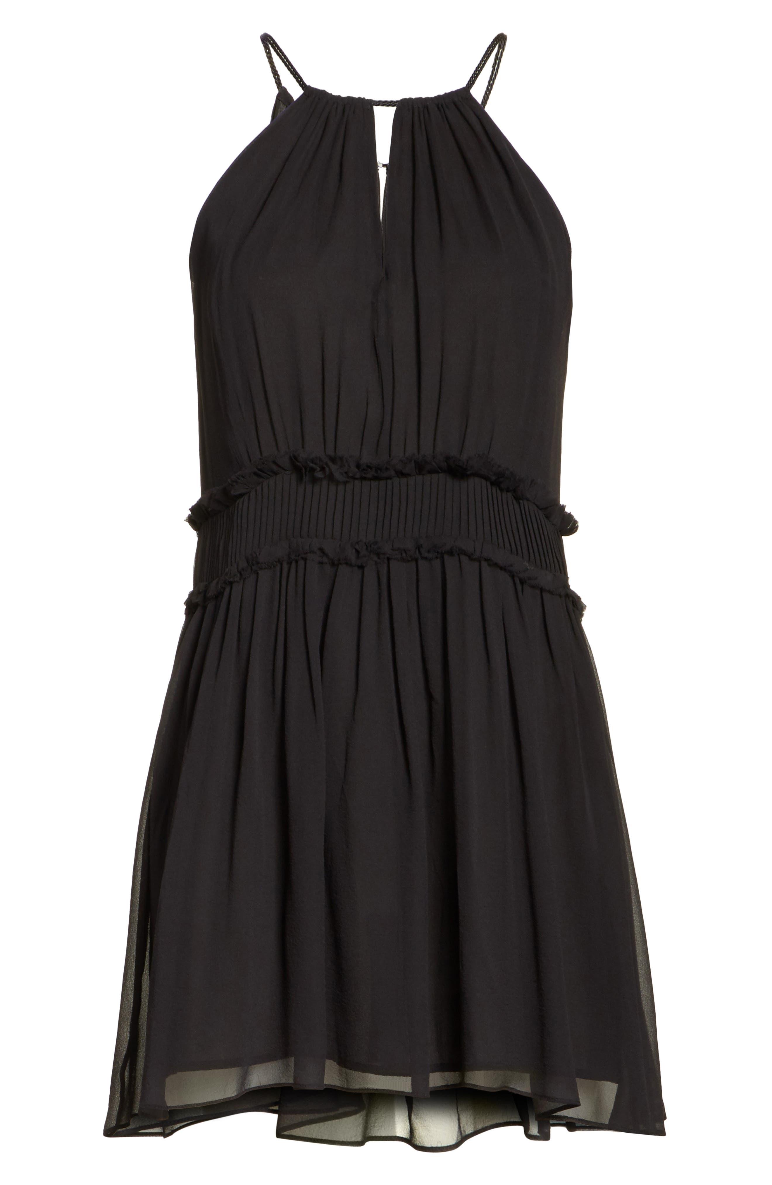 Althia Silk Dress,                             Alternate thumbnail 6, color,                             Caviar