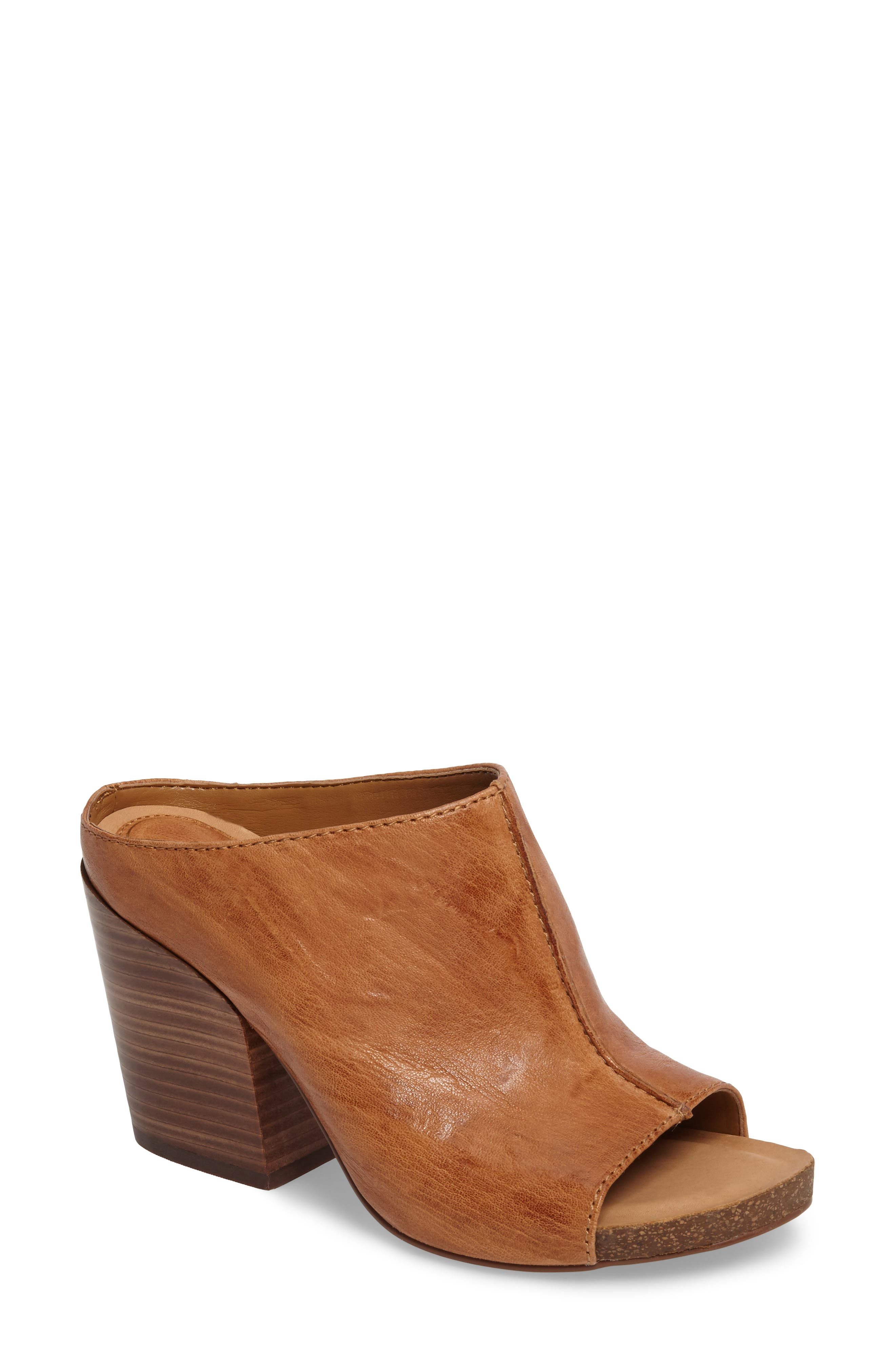 Isabella Open Toe Mule,                             Main thumbnail 1, color,                             Luggage Leather