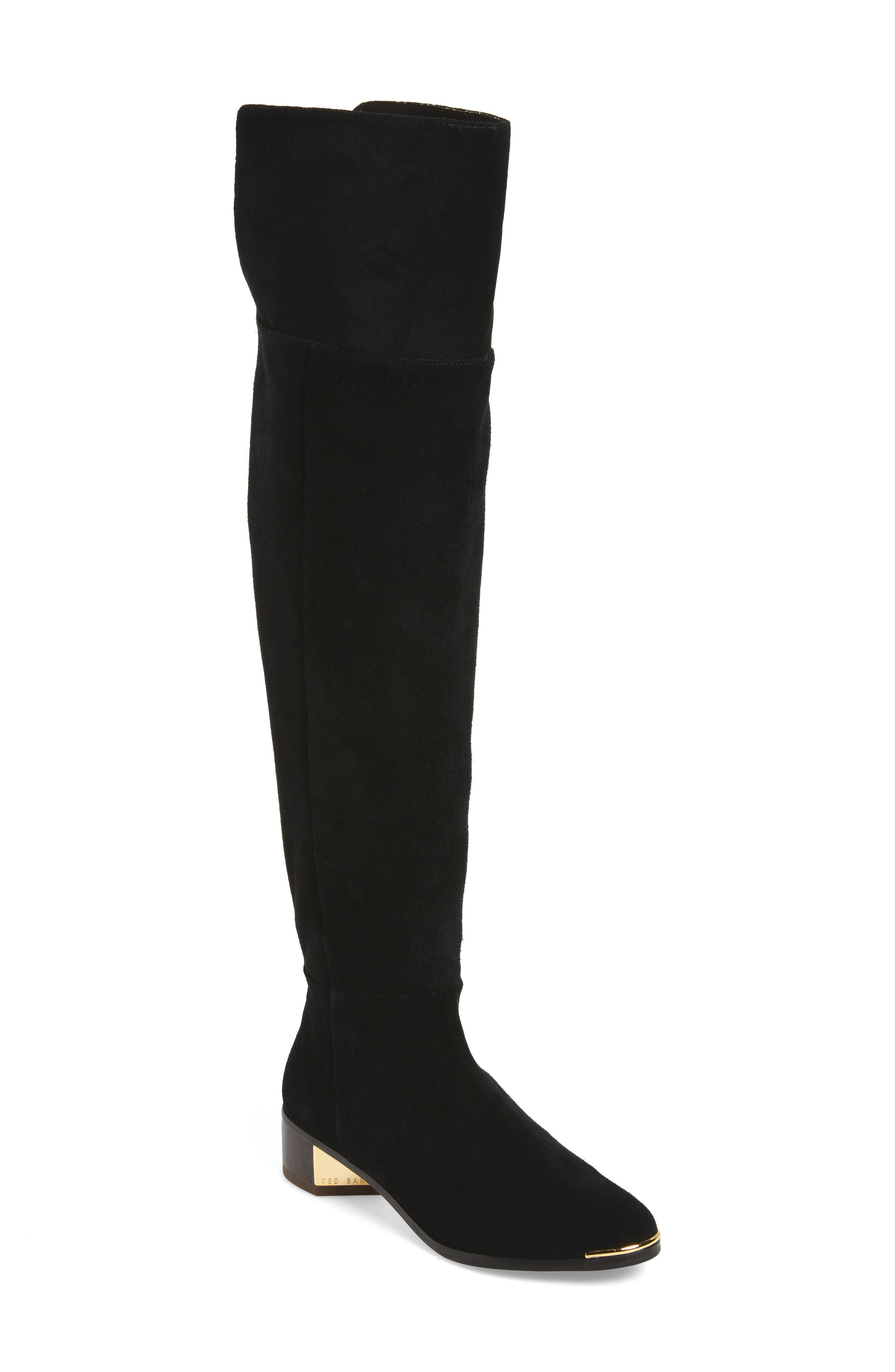 Nayomie Over the Knee Boot,                             Main thumbnail 1, color,                             Black Suede