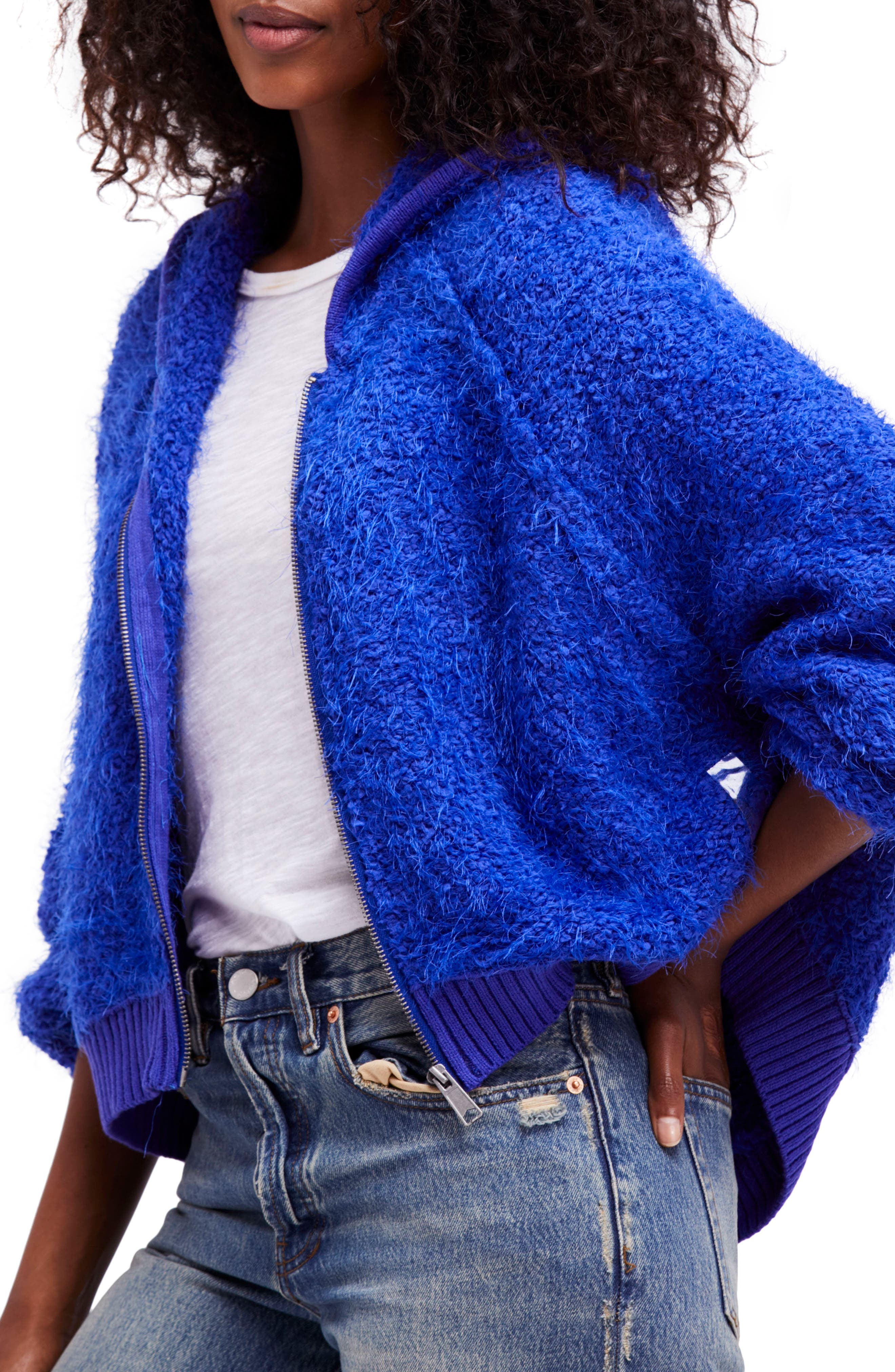 Furry Time Hooded Jacket,                             Main thumbnail 1, color,                             Blue
