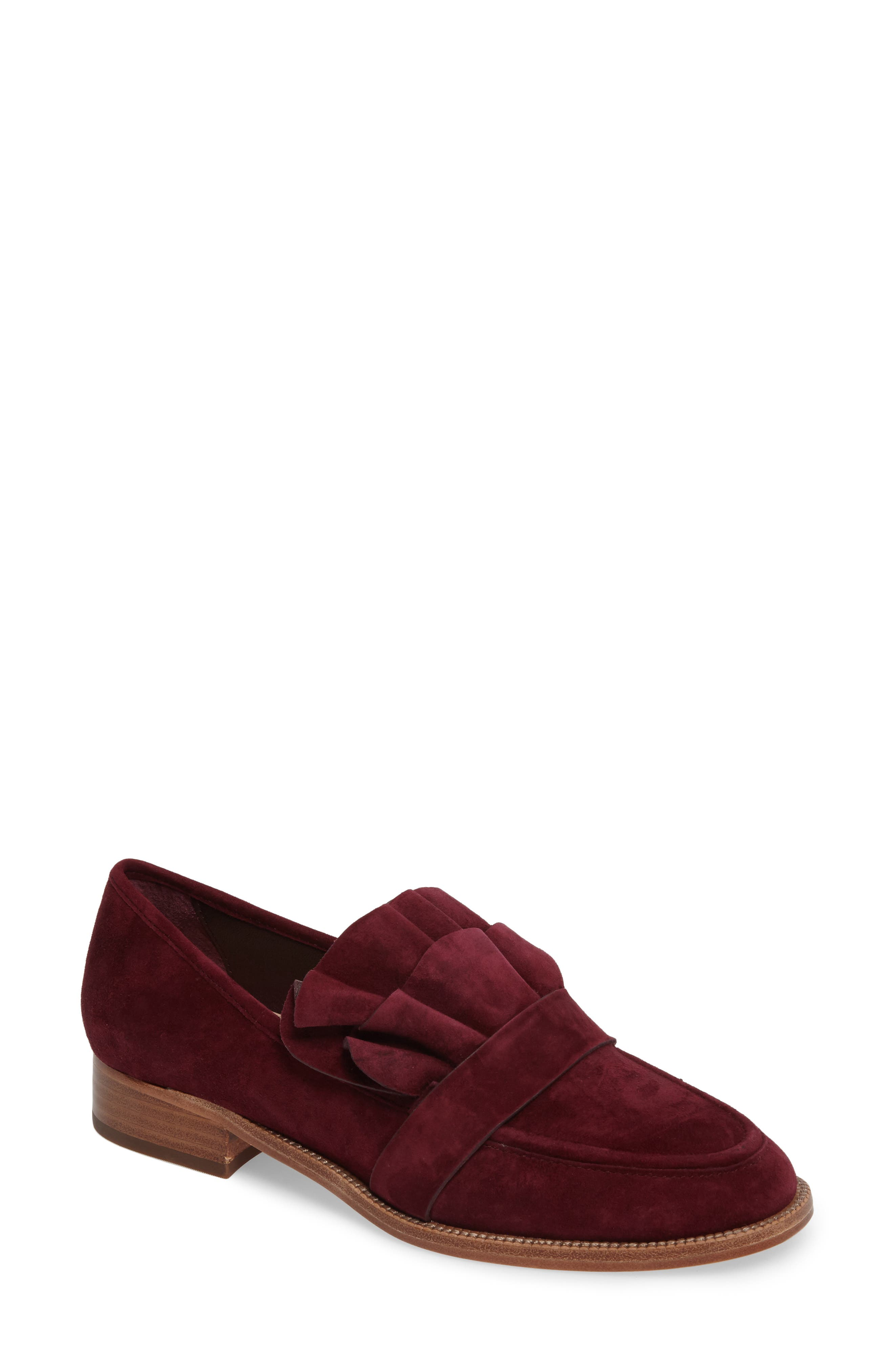 Tenley Ruffled Loafer,                         Main,                         color, Merlot Suede