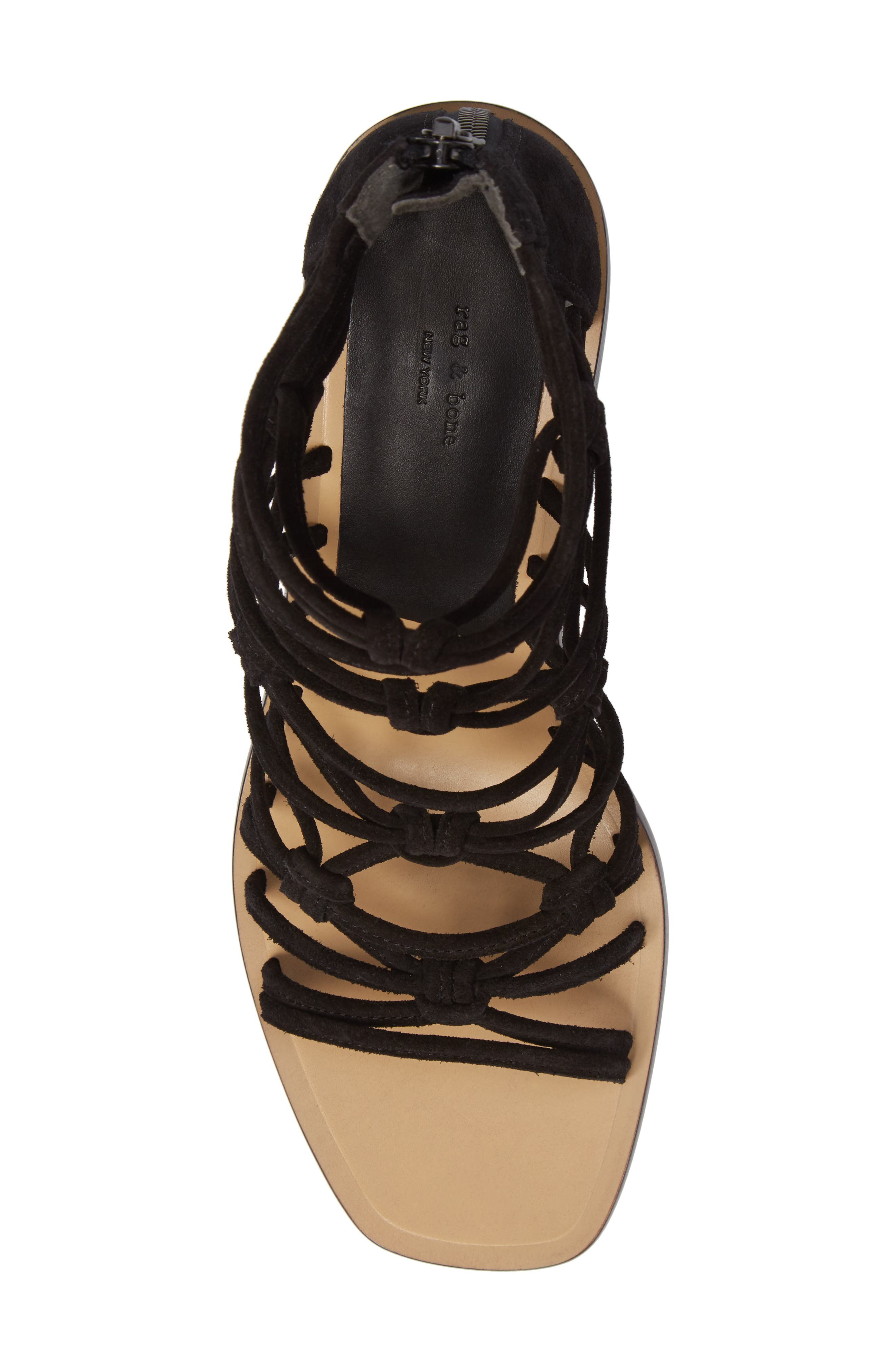 Camille Knotted Strappy Sandal,                             Alternate thumbnail 5, color,                             Black Suede