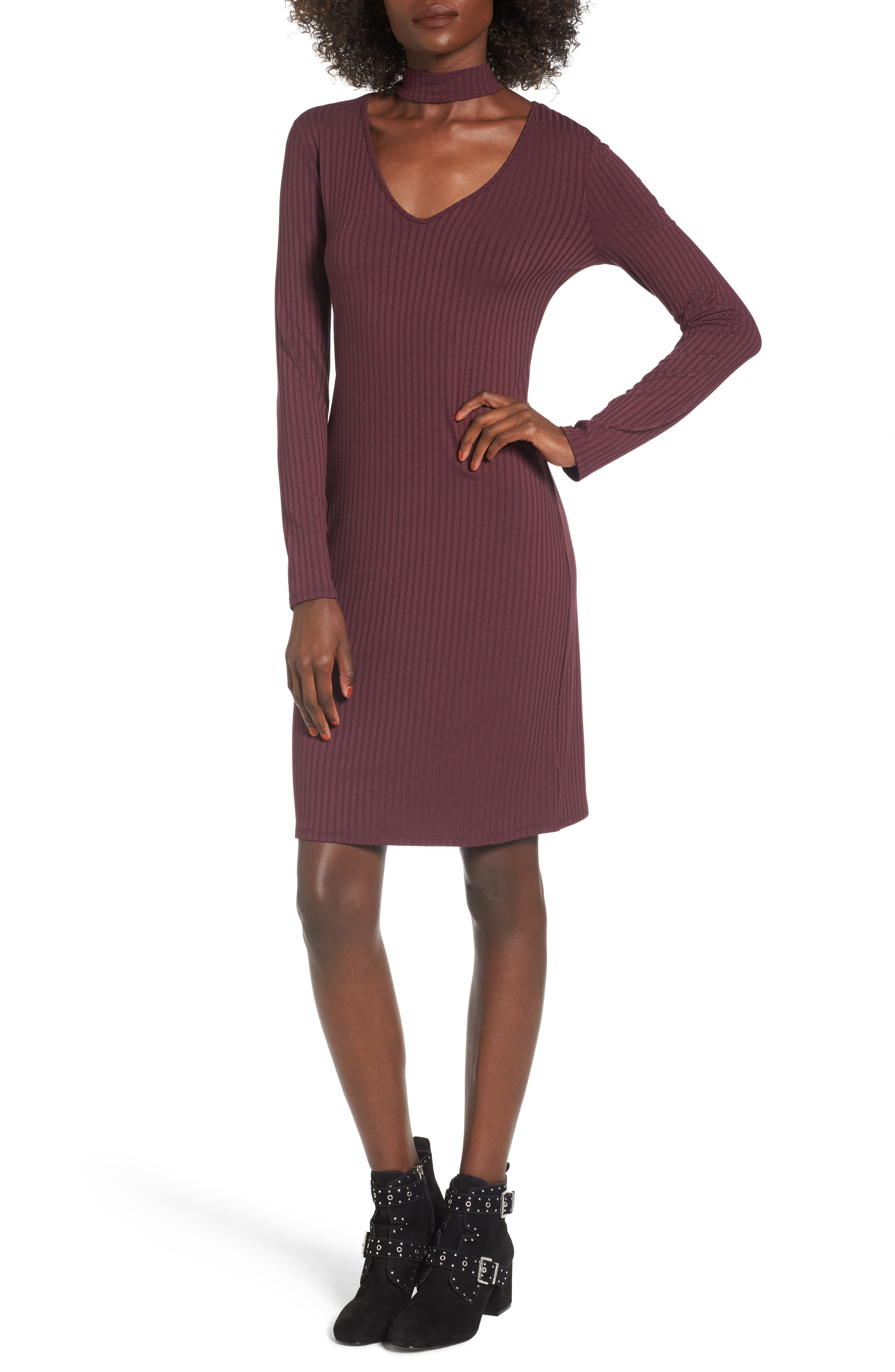 Main Image - One Clothing Ribbed Choker Dress
