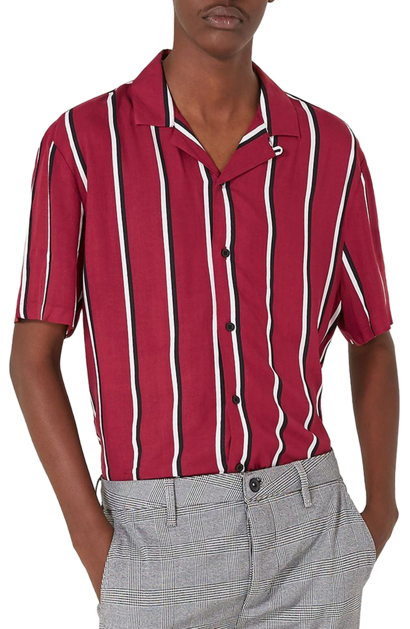Alternate Image 1 Selected - Topman Stripe Revere Shirt