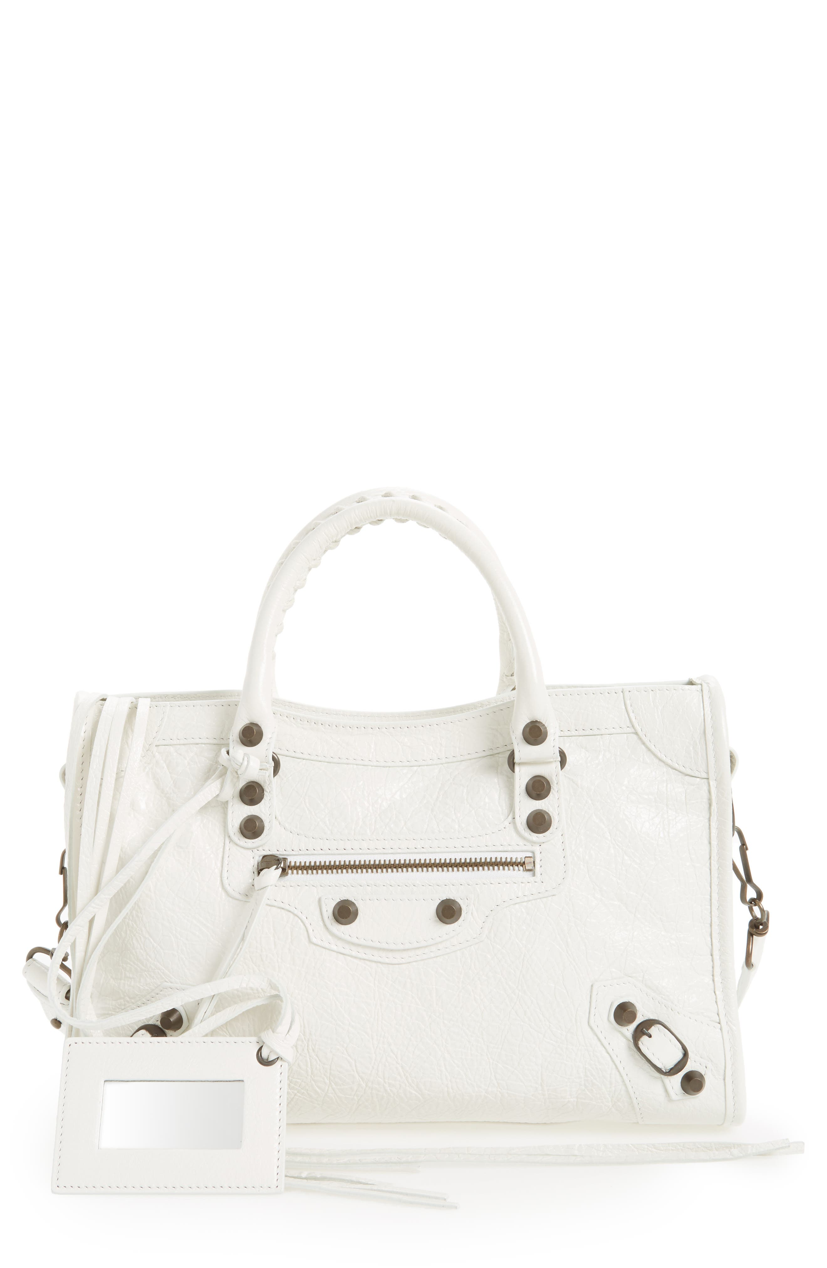 Small Classic City Leather Tote,                             Main thumbnail 1, color,                             9060 Blanc Clair