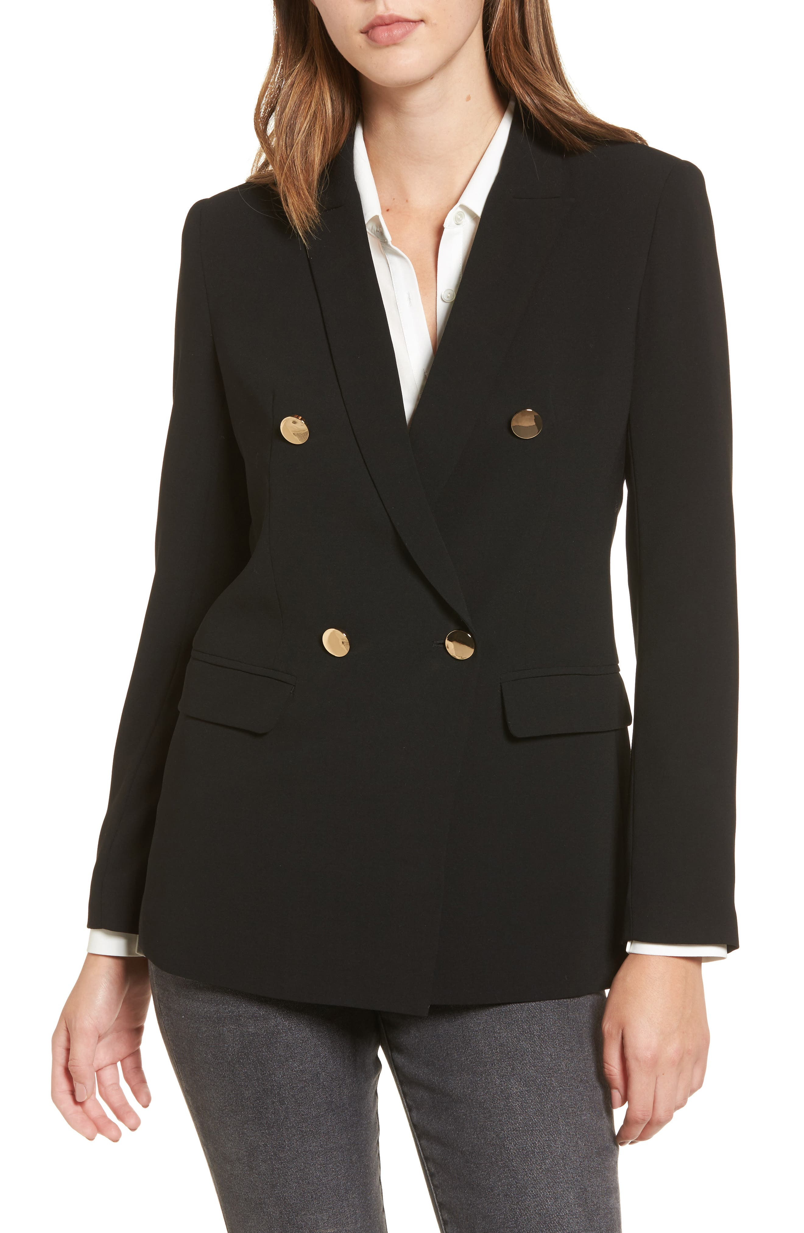 Oversize Double Breasted Blazer,                             Alternate thumbnail 4, color,                             Black