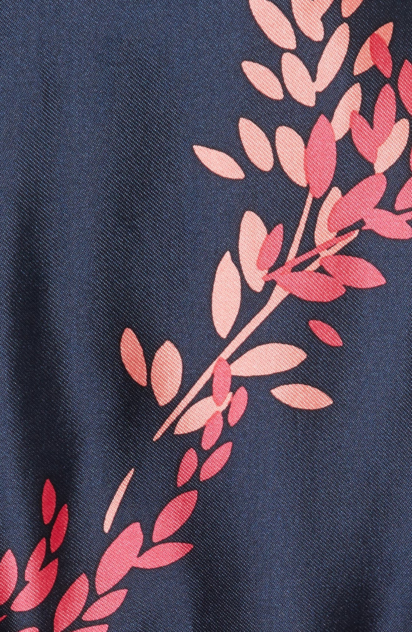 Leaf Print Silk & Cotton Dress,                             Alternate thumbnail 5, color,                             Navy/ Tourmaline