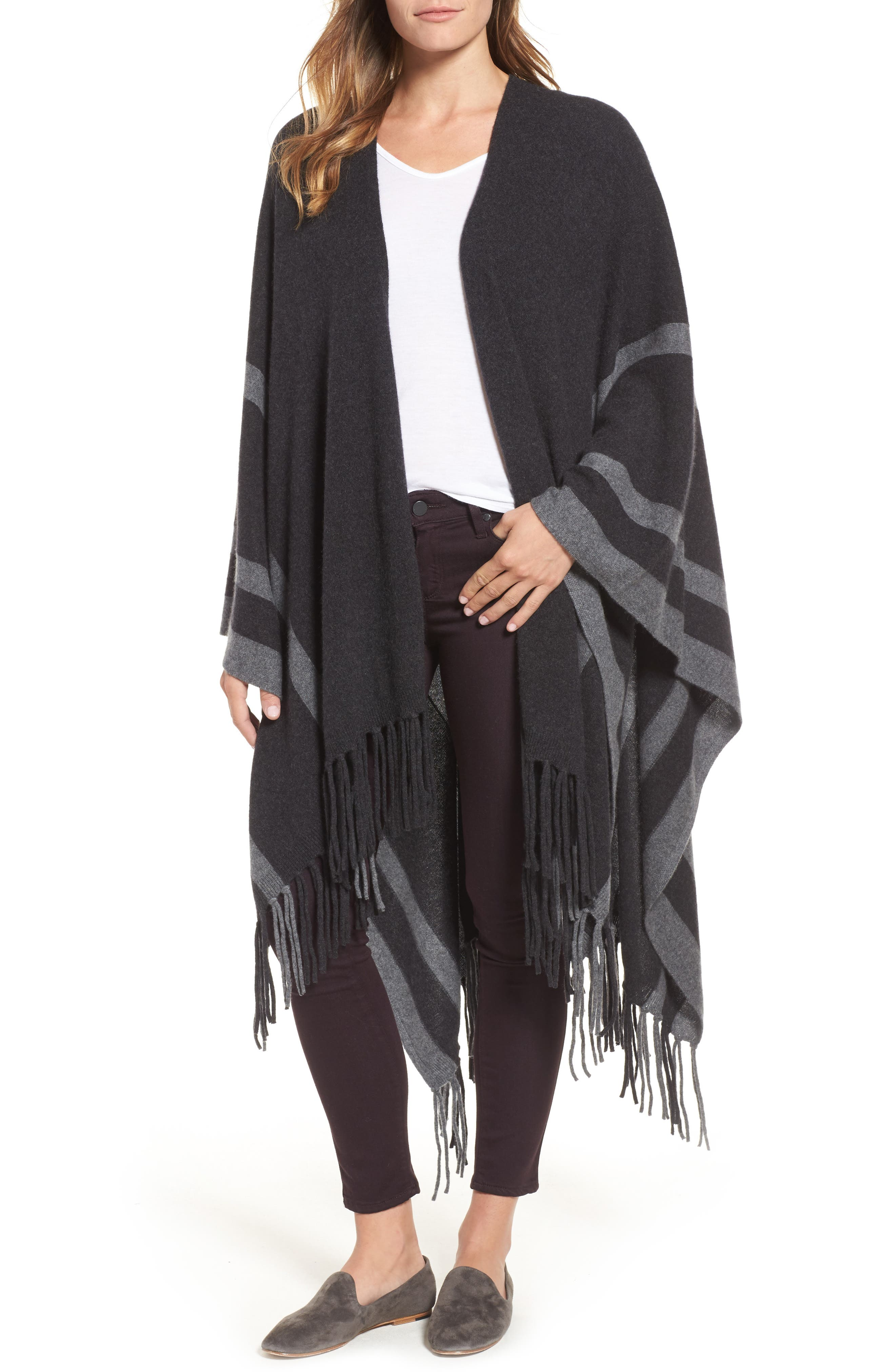 Luxe Stripe Cashmere Ruana,                             Main thumbnail 1, color,                             Black Rock Heather Combo