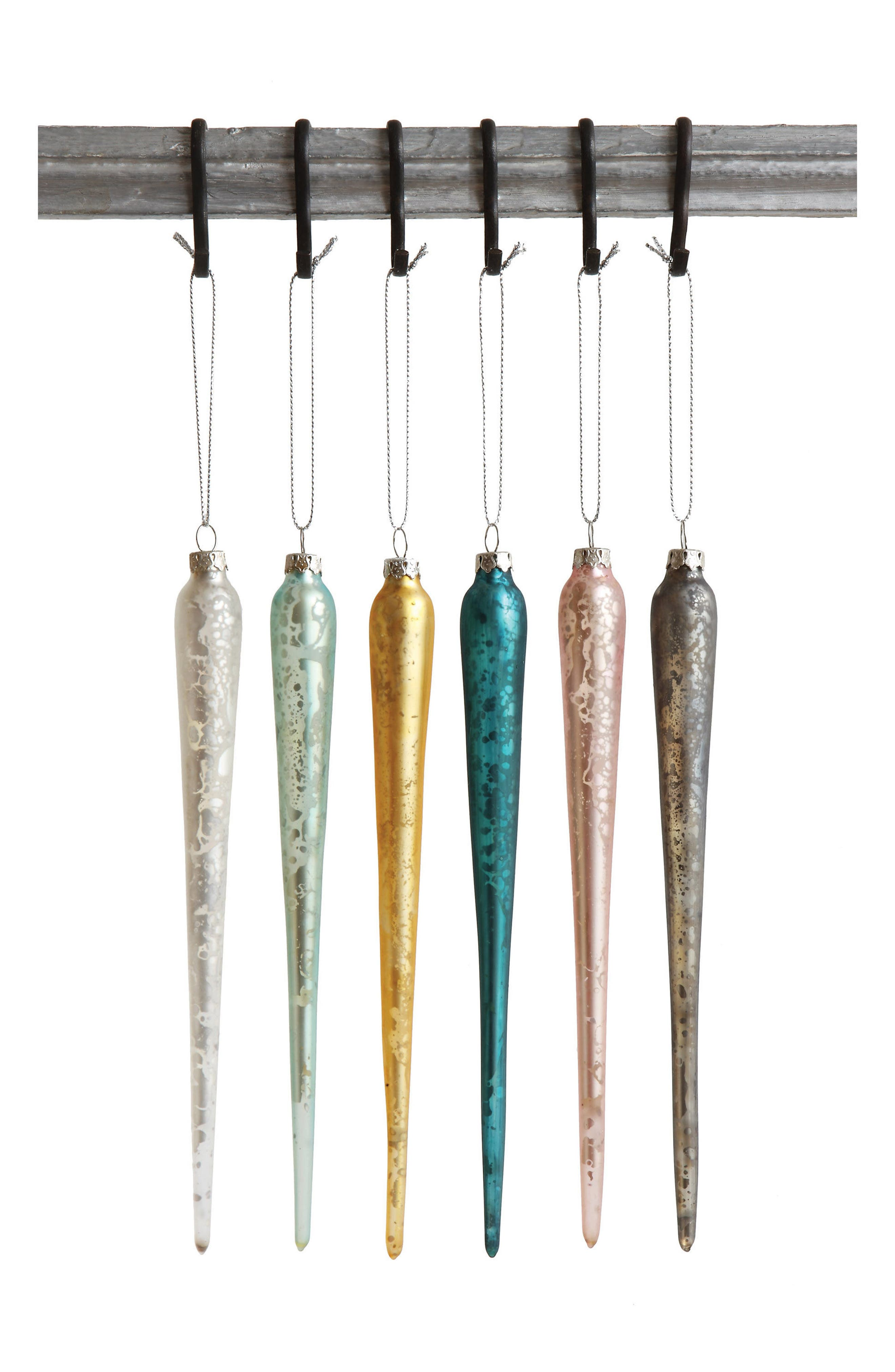 Set of 6 Icicle Ornaments,                         Main,                         color, Silver Multi