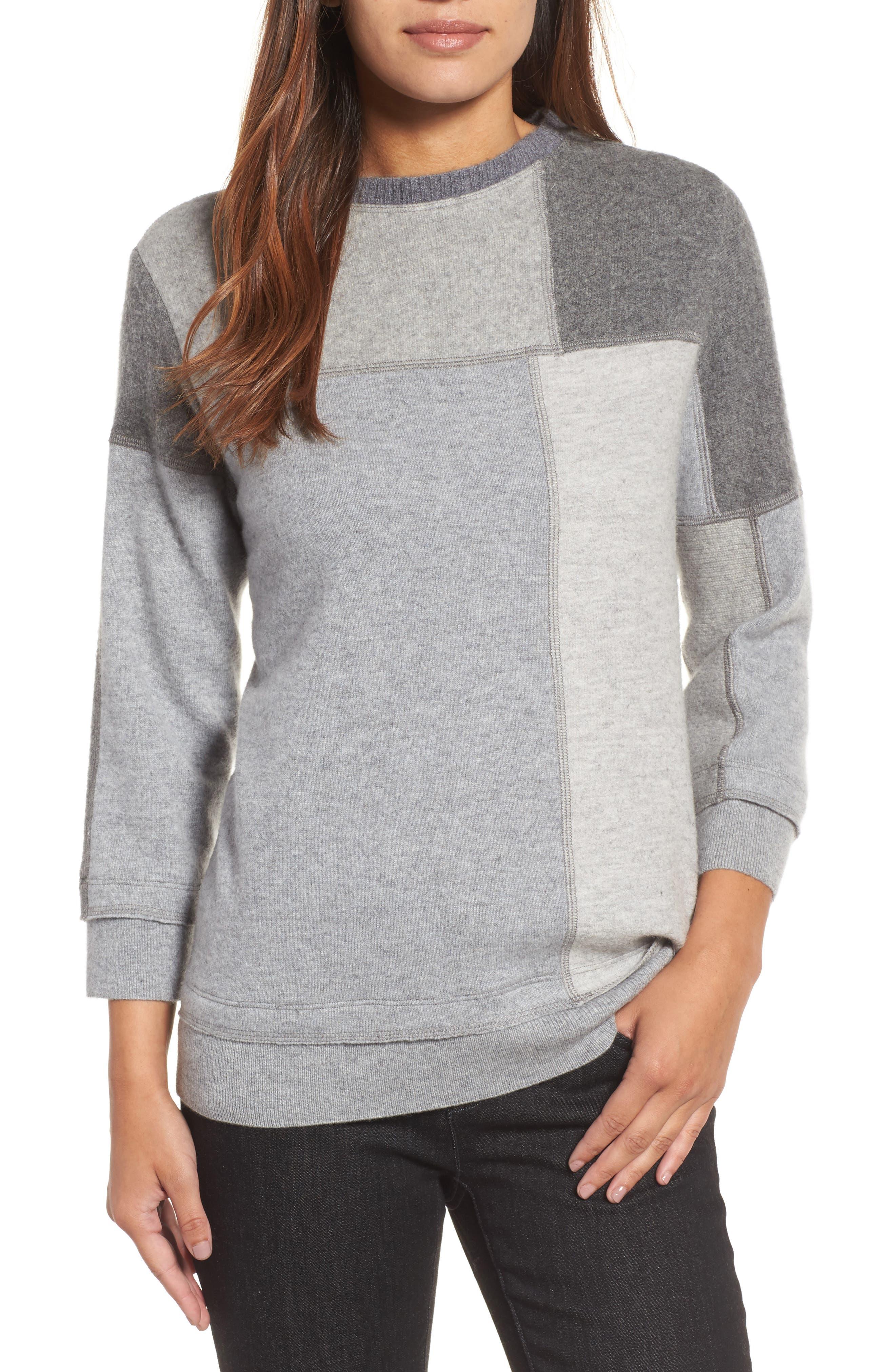 Colorblock Cashmere Sweater,                             Main thumbnail 1, color,                             Grey