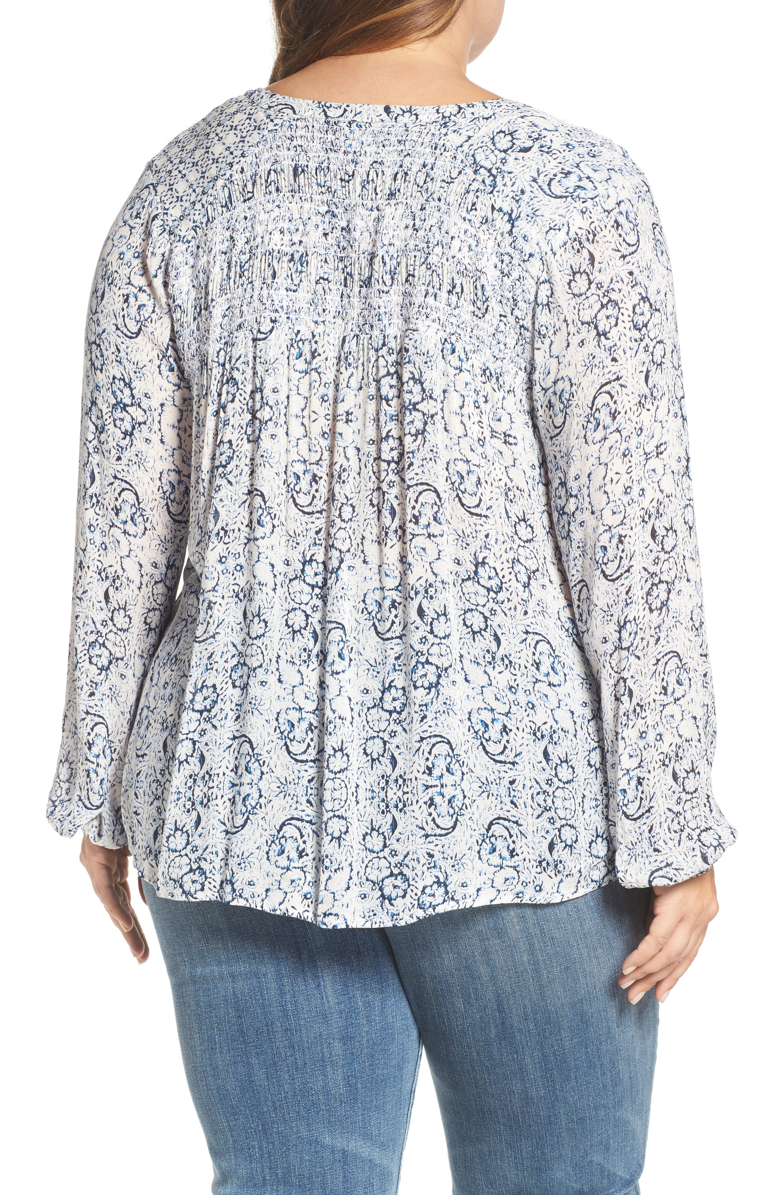 Alternate Image 2  - Lucky Brand Smocked Peasant Top (Plus Size)