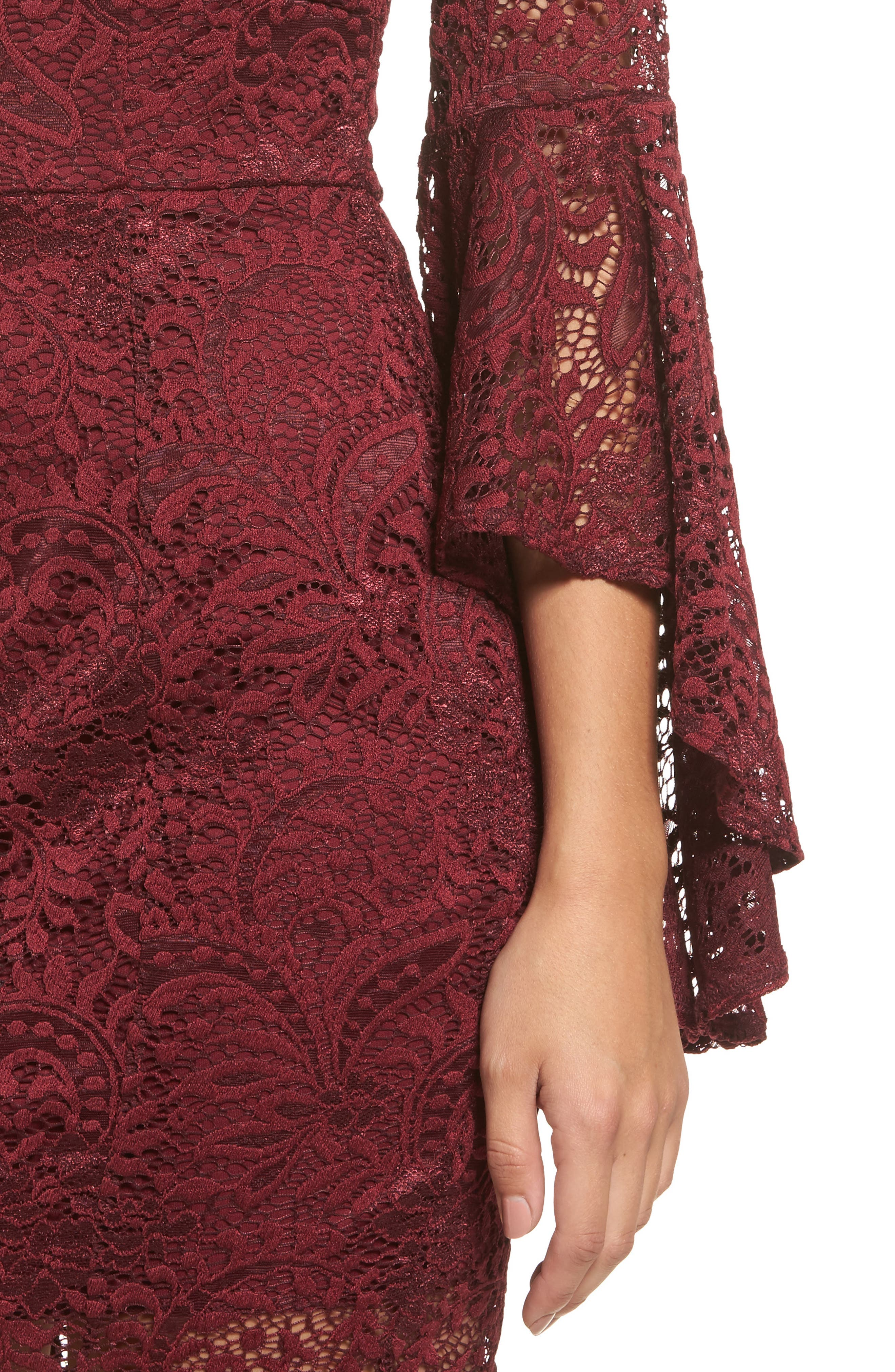 Lace Bell Sleeve Dress,                             Alternate thumbnail 4, color,                             Burgundy