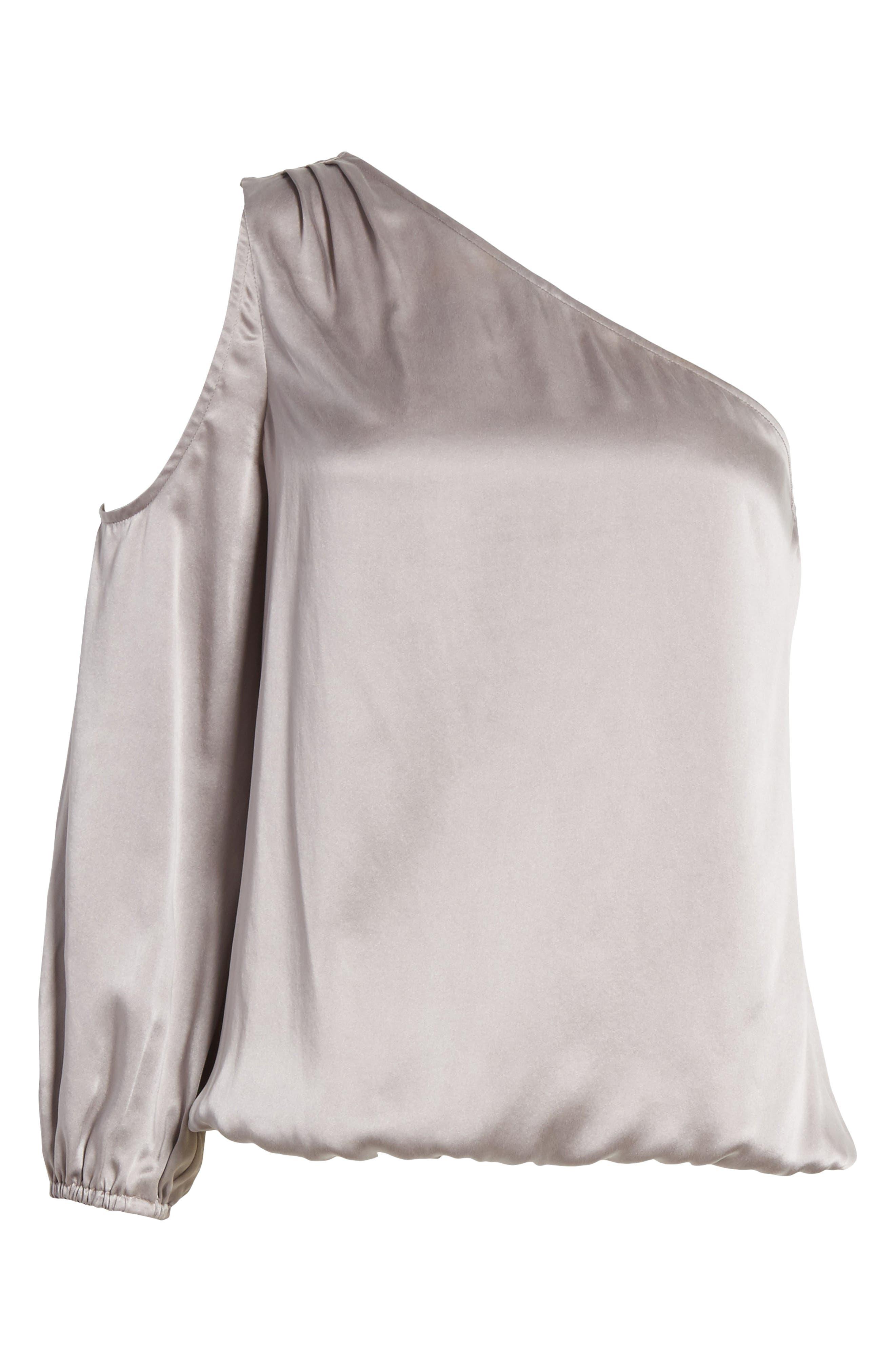 Abatha One-Shoulder Silk Top,                             Alternate thumbnail 6, color,                             Vintage Silver