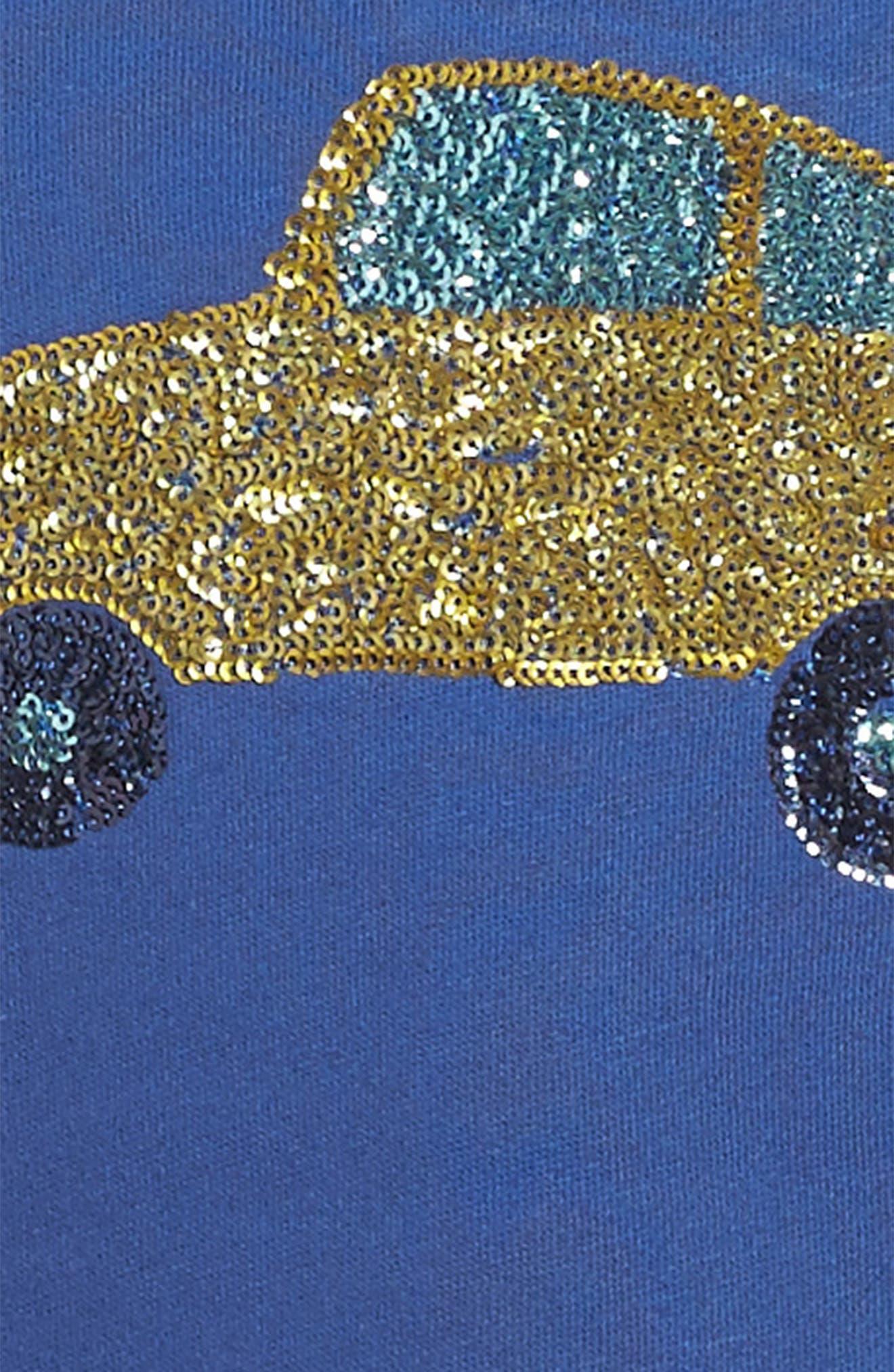 Sequin Appliqué Dress,                             Alternate thumbnail 3, color,                             Bluebell