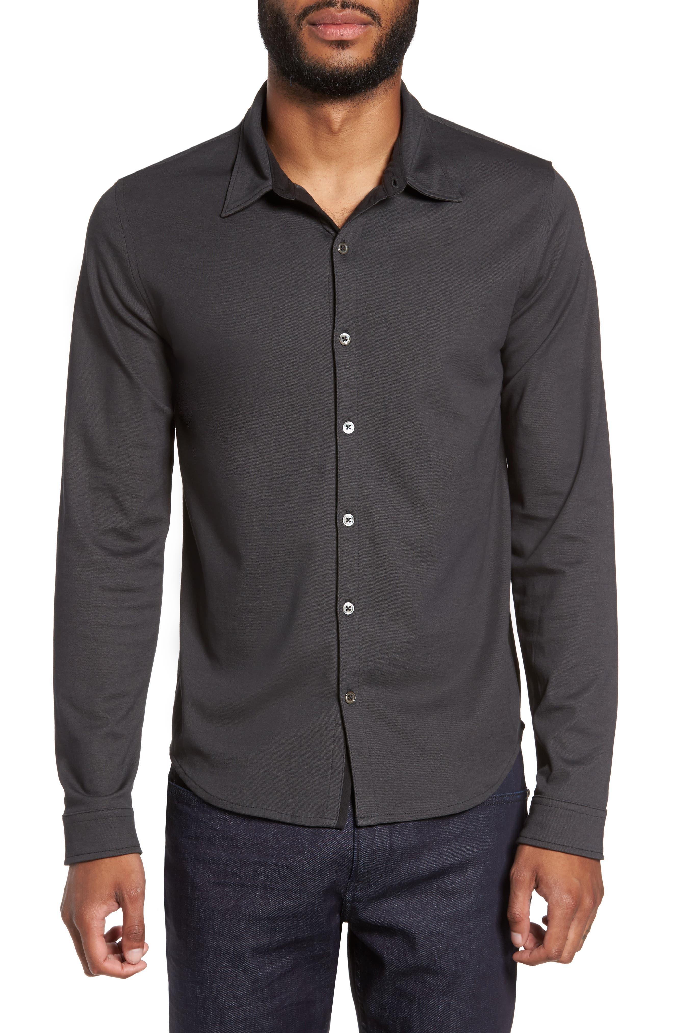 Glacier Knit Sport Shirt,                             Main thumbnail 1, color,                             Black
