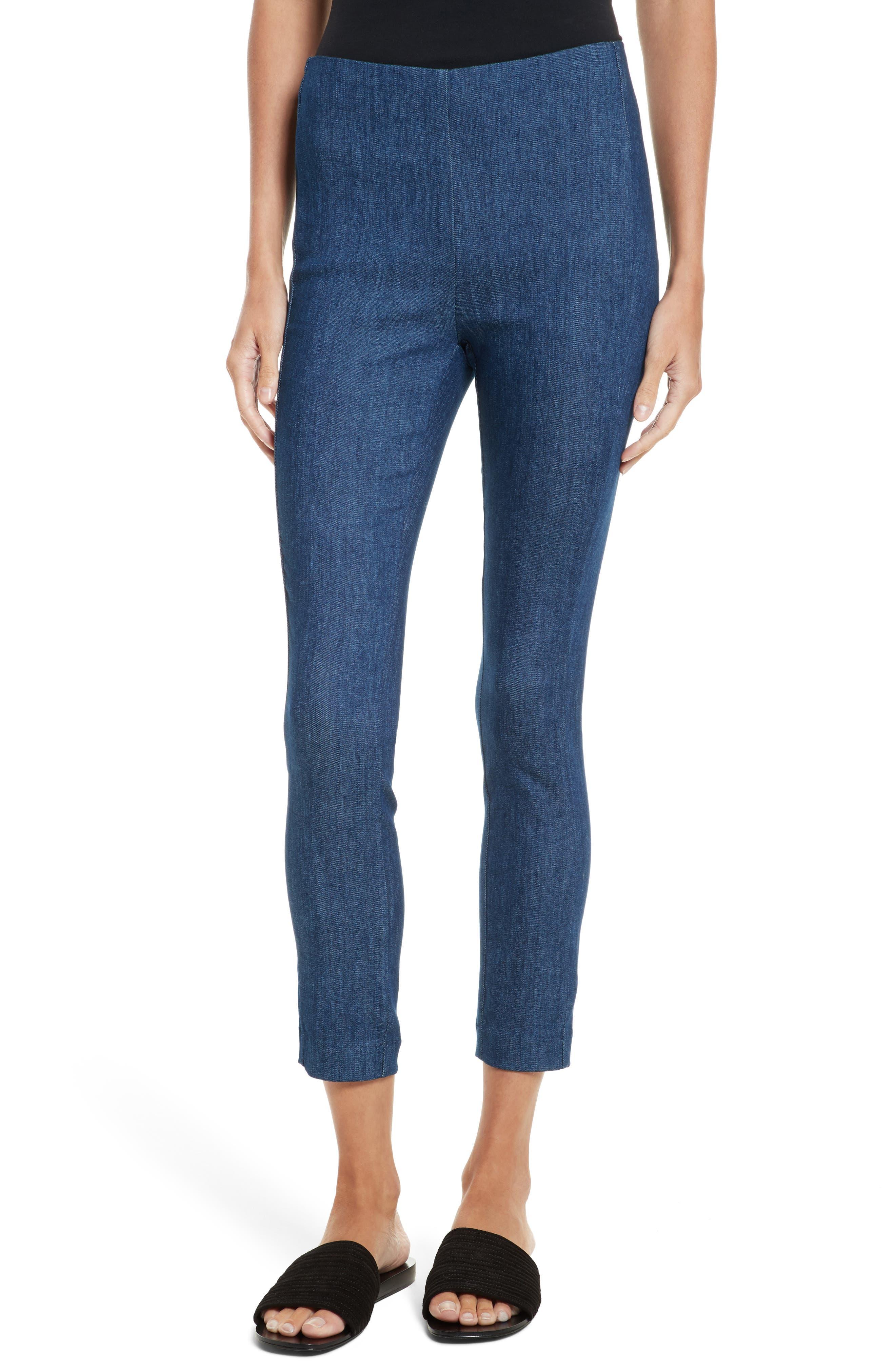 Simone Slim Ankle Pants,                         Main,                         color, Mid Blue
