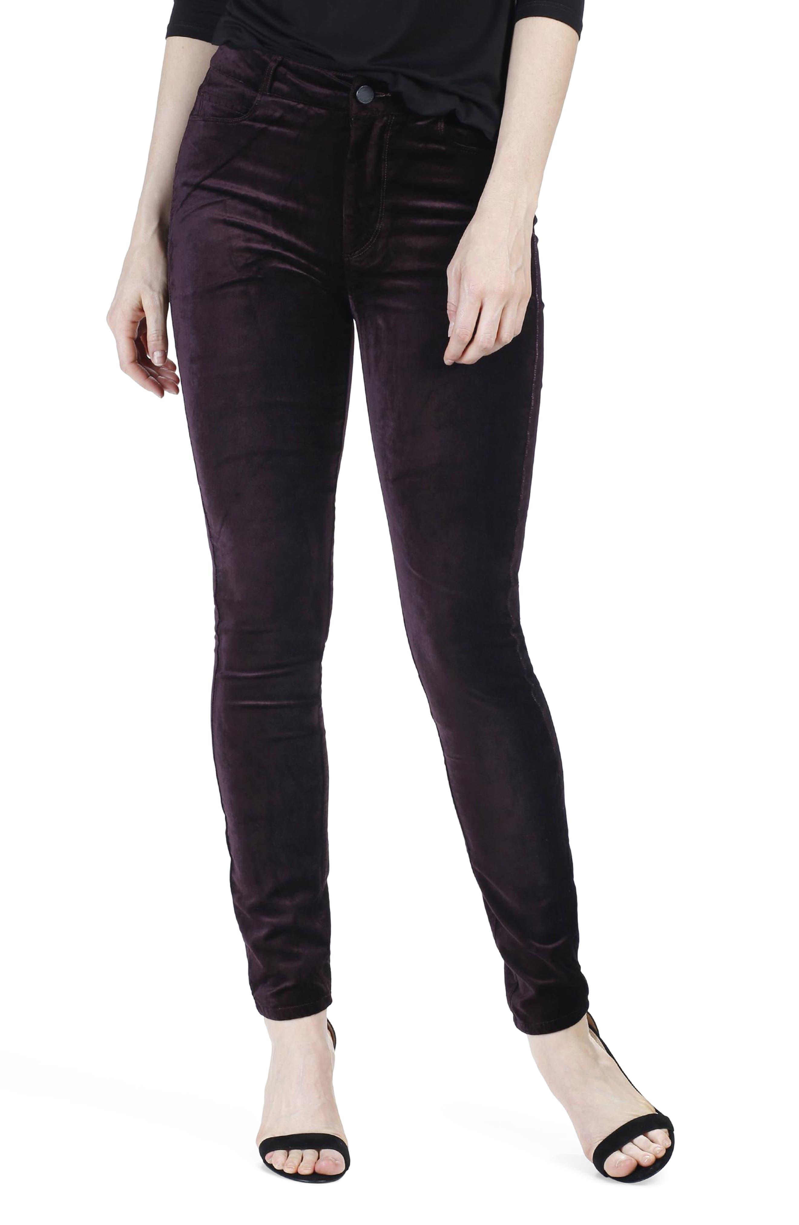 Hoxton Velvet Ankle Skinny Jeans,                             Alternate thumbnail 4, color,                             Black Cherry