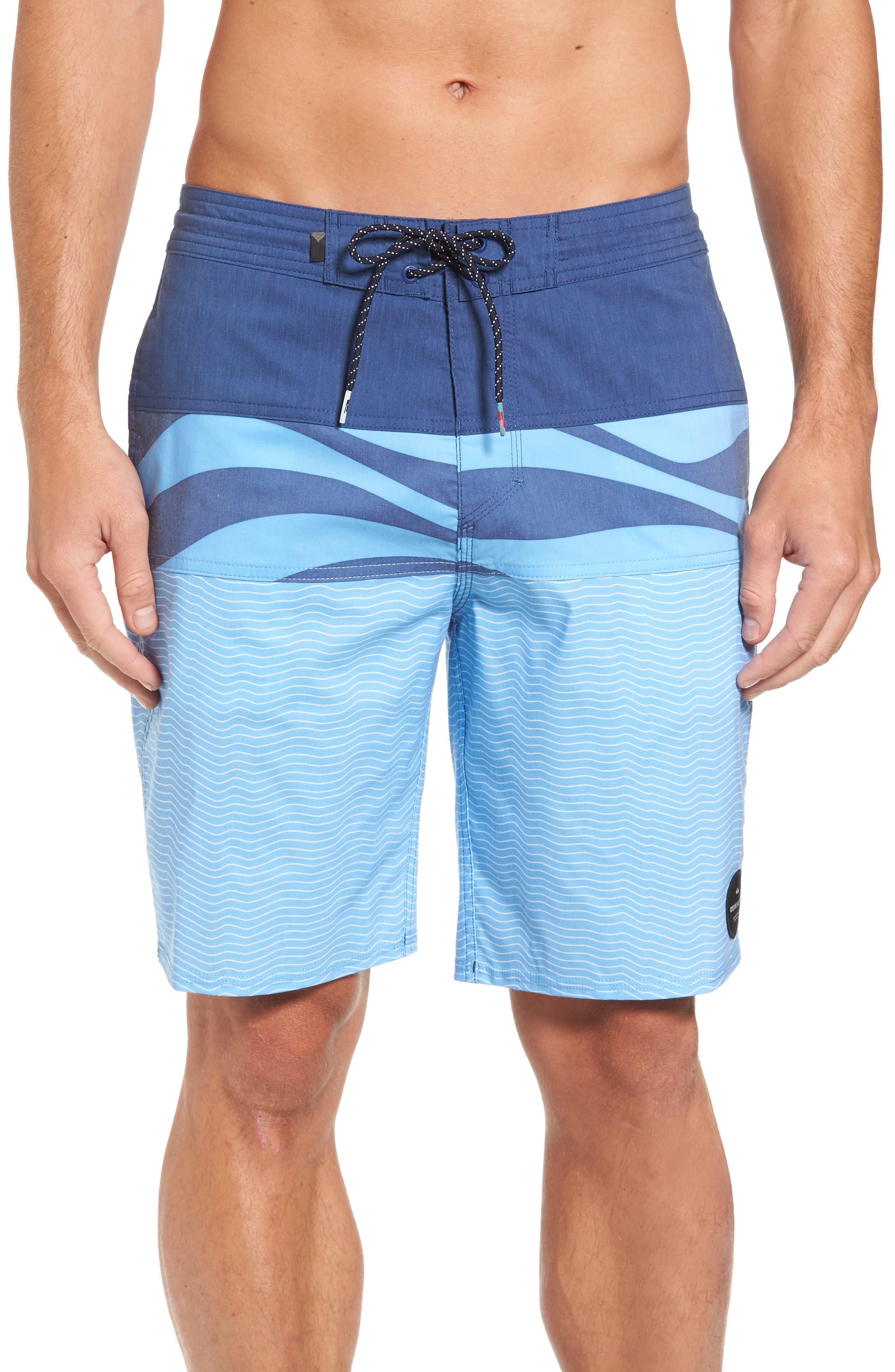 Heatwave Blocked Board Shorts,                             Main thumbnail 1, color,                             Blue